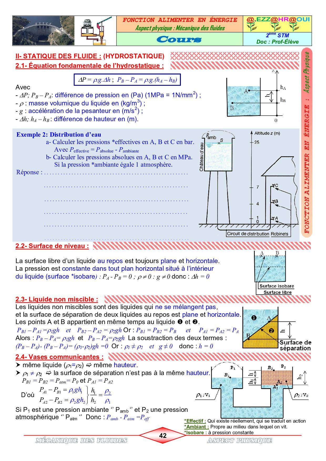 Mécanique des fluides - Cours - AlloSchool