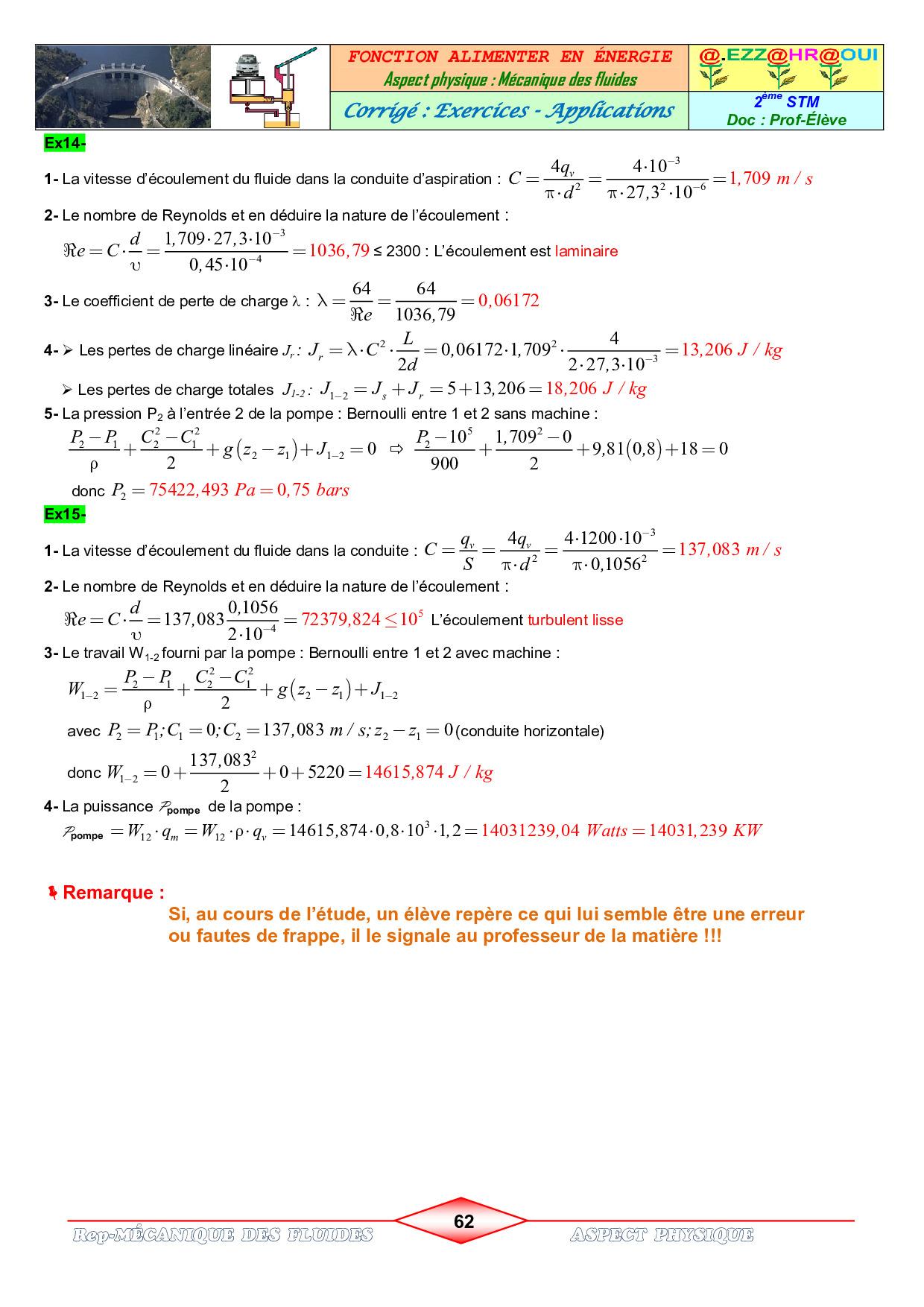 Mecanique Des Fluides Corriges D Exercices Et Applications Alloschool