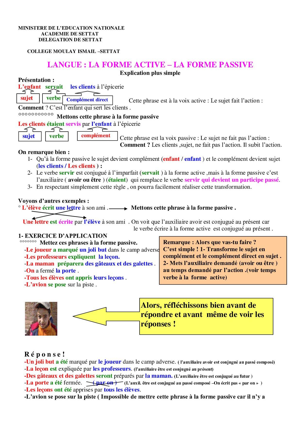la voix passive et active pdf