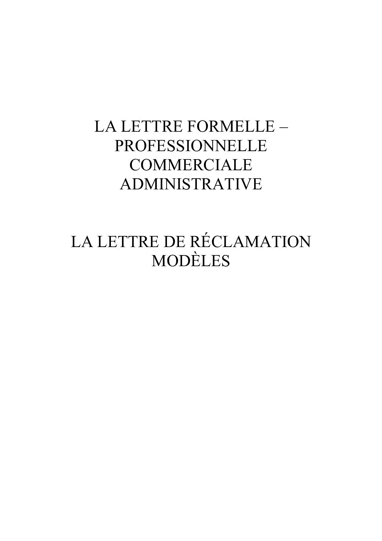 Modèles De Lettre De Réclamation Alloschool