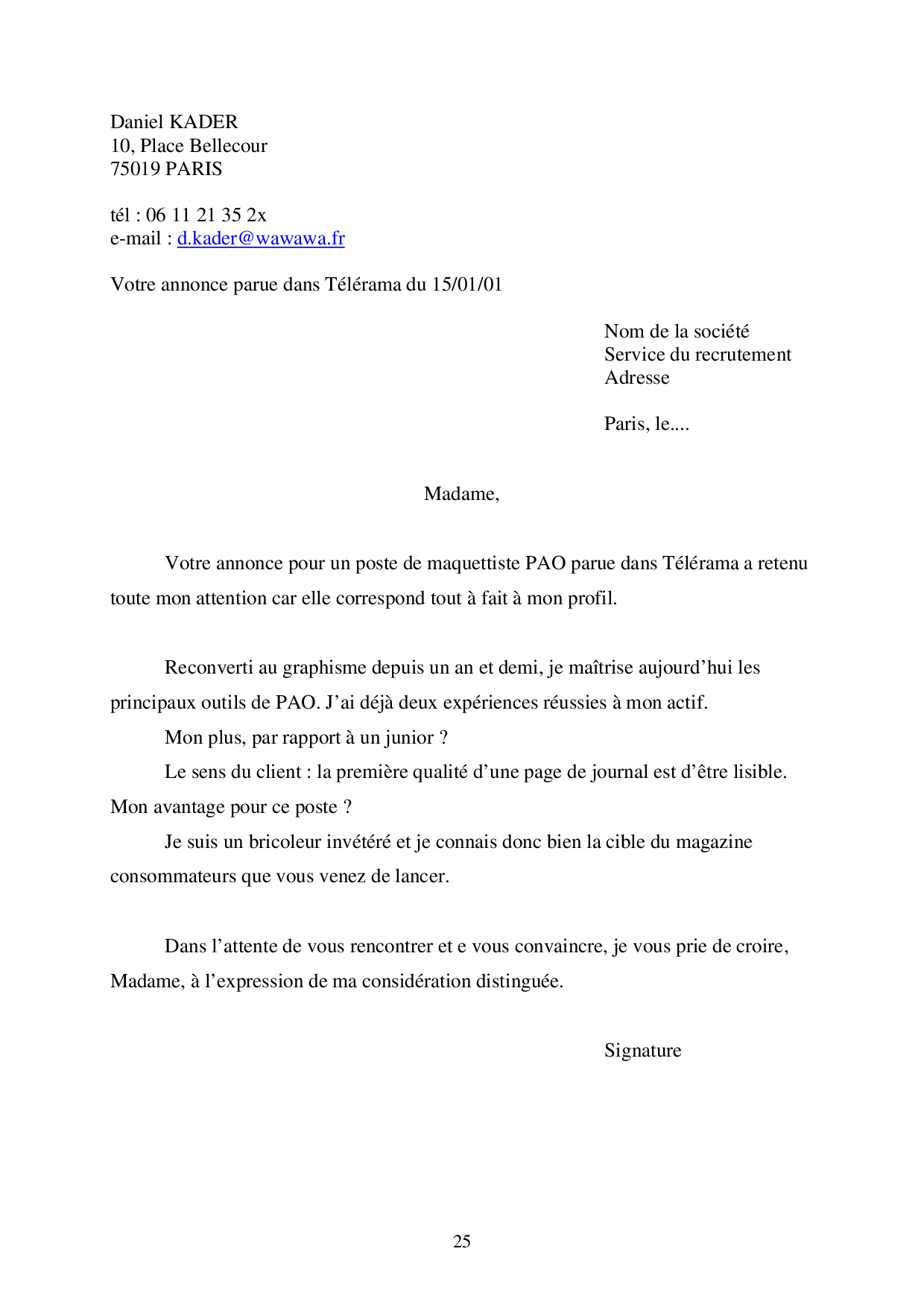 exemples cv et lettre motivation