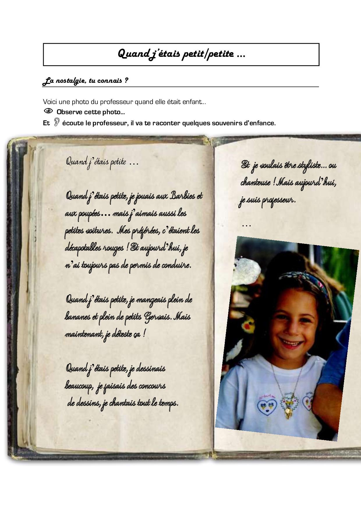 exemple souvenir d u0026 39 enfance