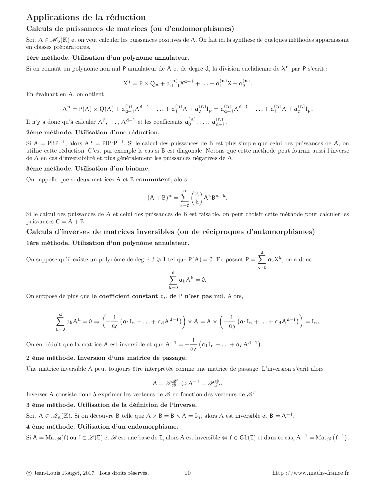 r u00e9sum u00e9 cours r u00e9duction des endomorphismes et des matrices carr u00e9es