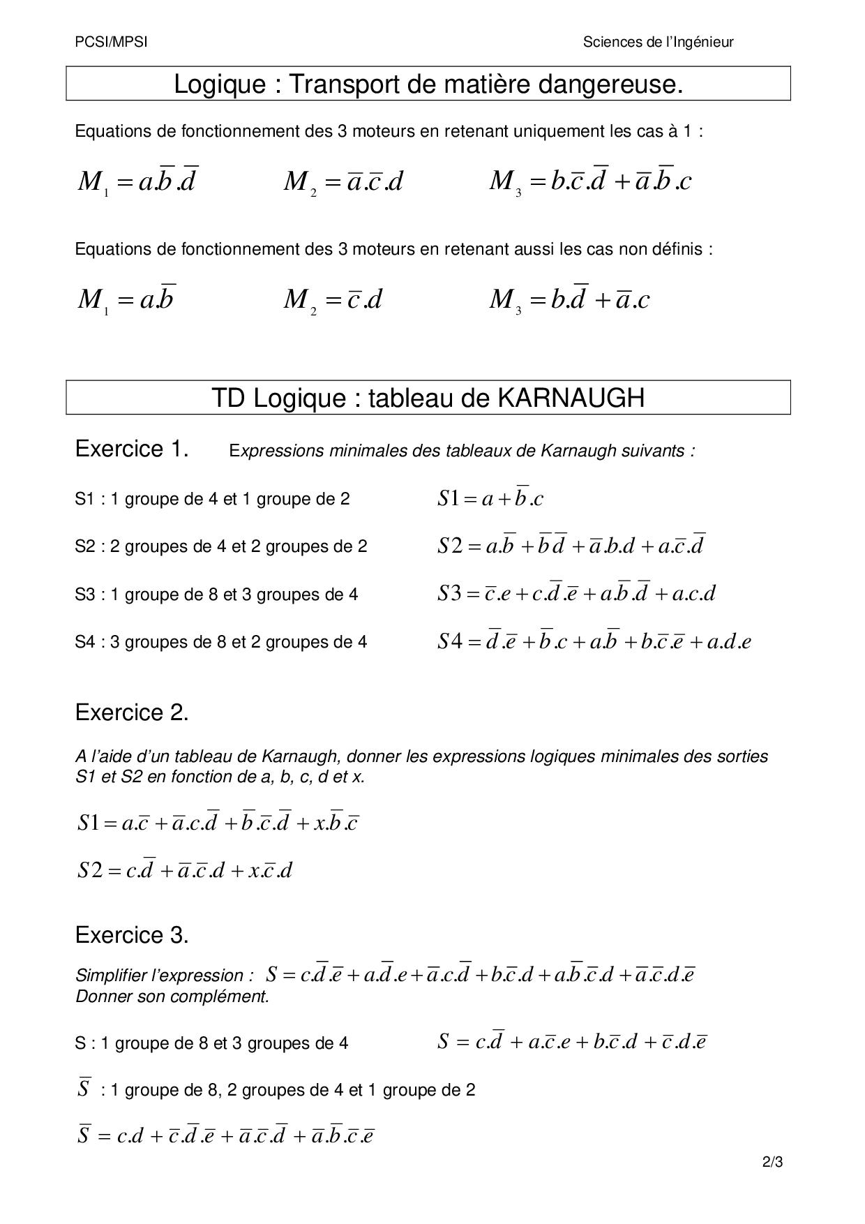 Tableaux De Karnaugh Corrige Alloschool