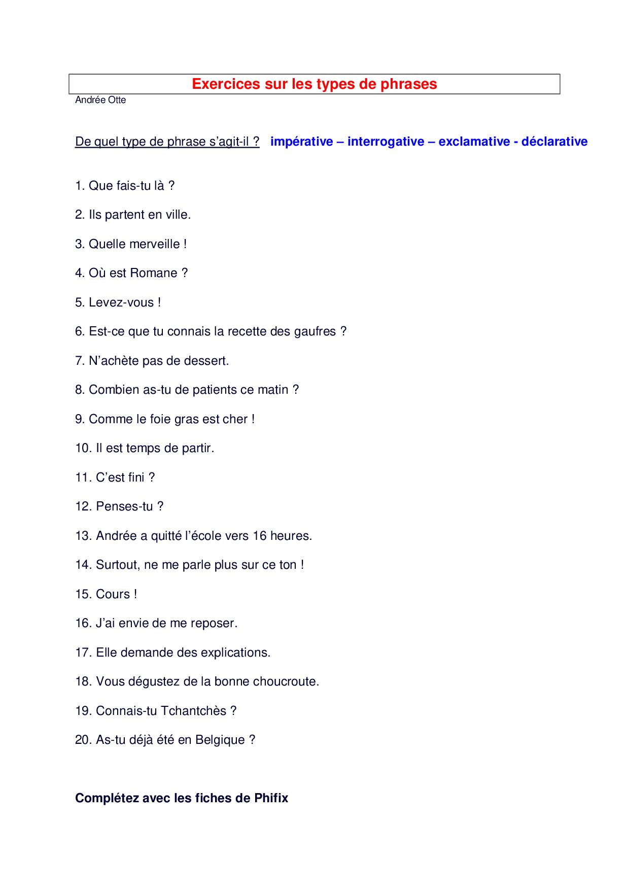 Les Types De Phrases Exercices 1 Alloschool