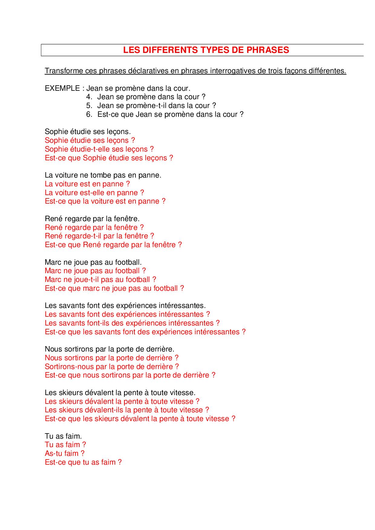 Les types de phrases - exercices 2 - AlloSchool