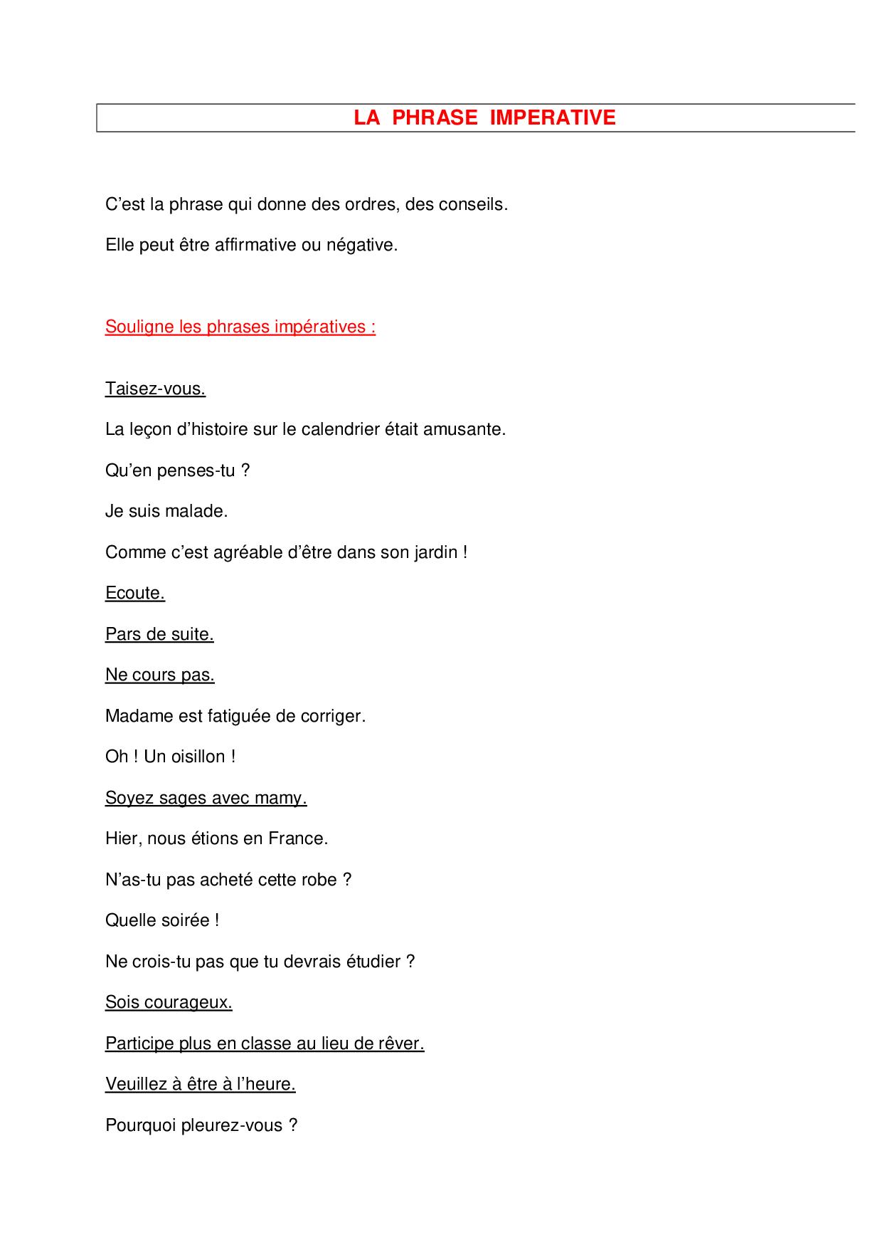 La phrase imperative - exercices - AlloSchool