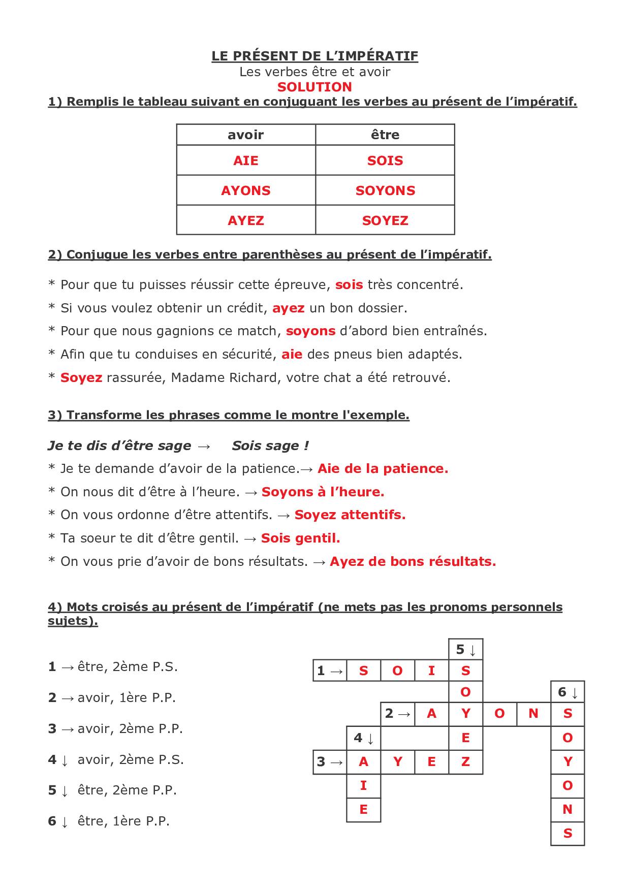 Le Present De L Imperatif Les Verbes Etre Avoir Exercices Alloschool