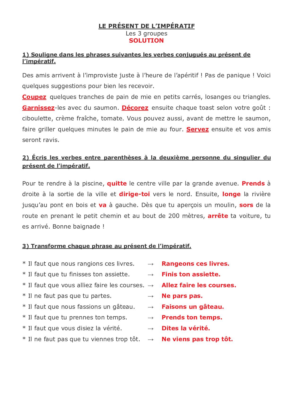 Le Present De L Imperatif Les 3 Groupes Exercices 3 Alloschool