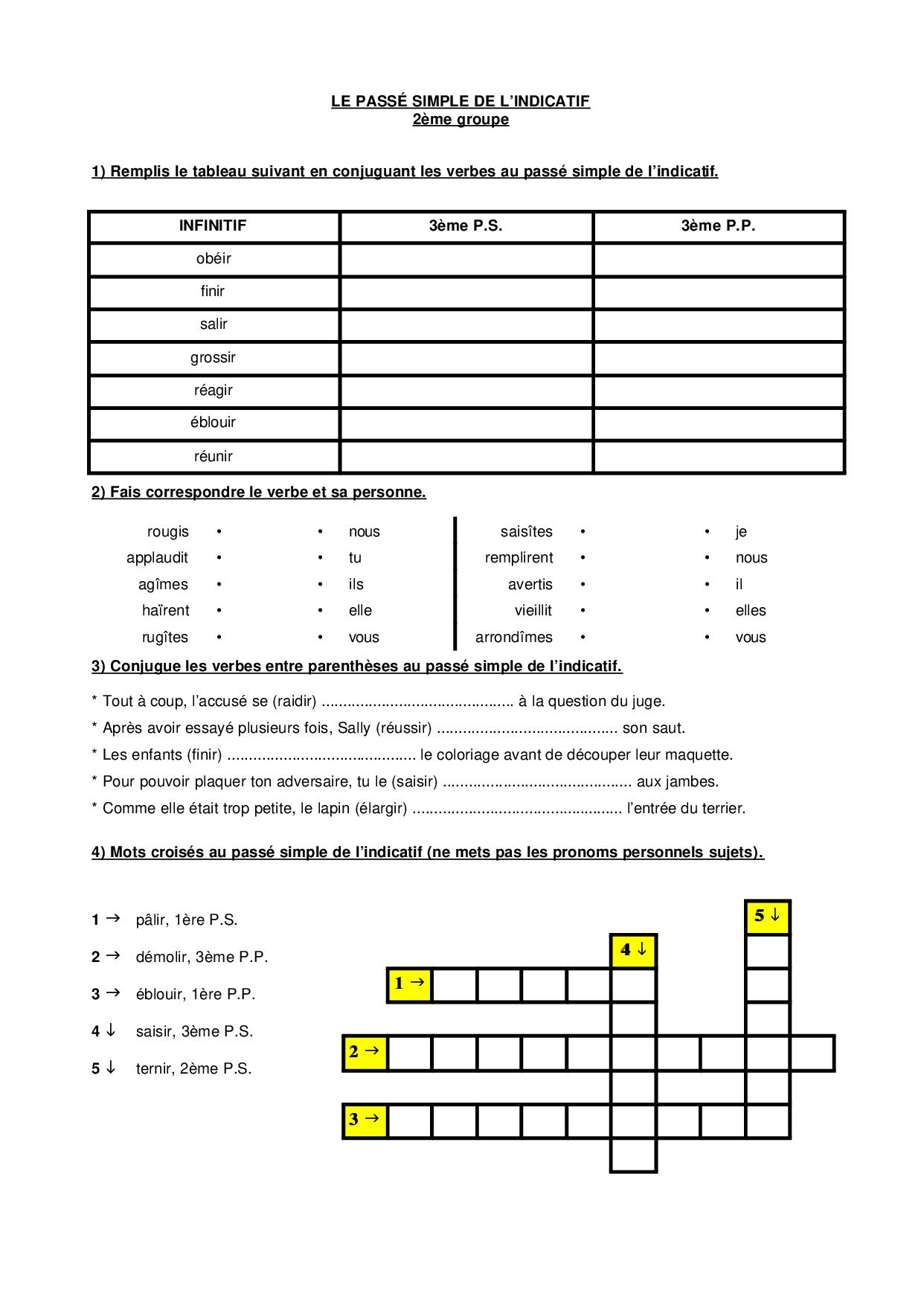 Le passé simple - le 2ème groupe - exercices - AlloSchool