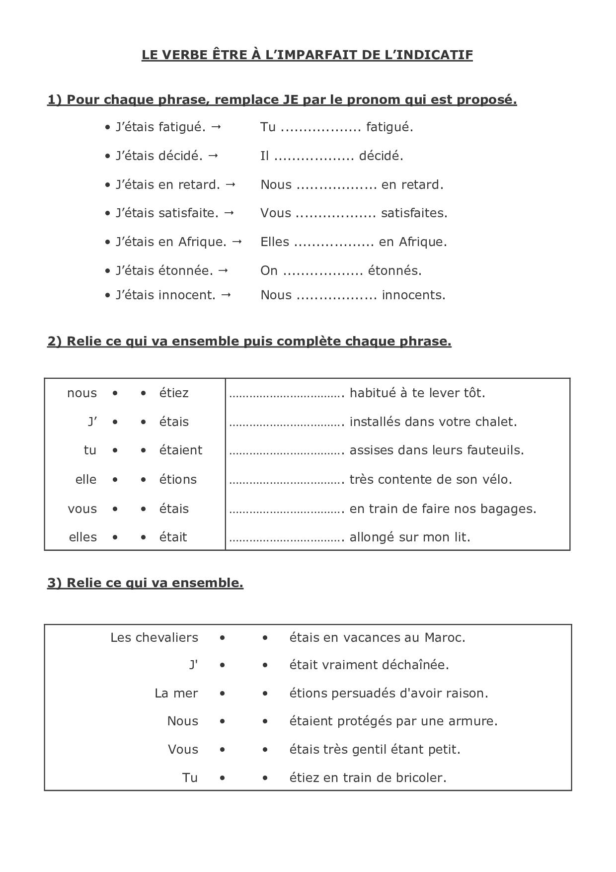 L'imparfait de l'indicatif - le verbe être - exercices 1 ...