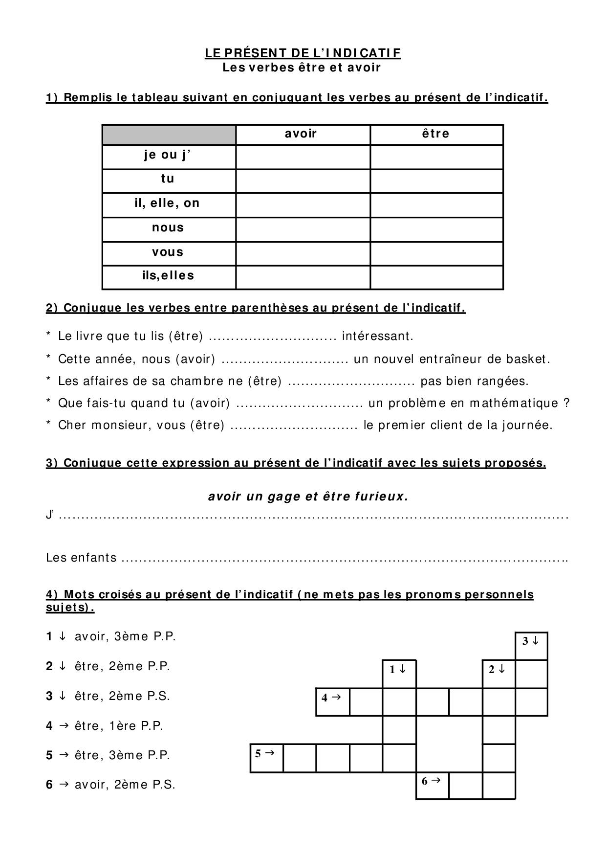 Le Present De L Indicatif Les Verbes Etre Avoir Exercices Alloschool