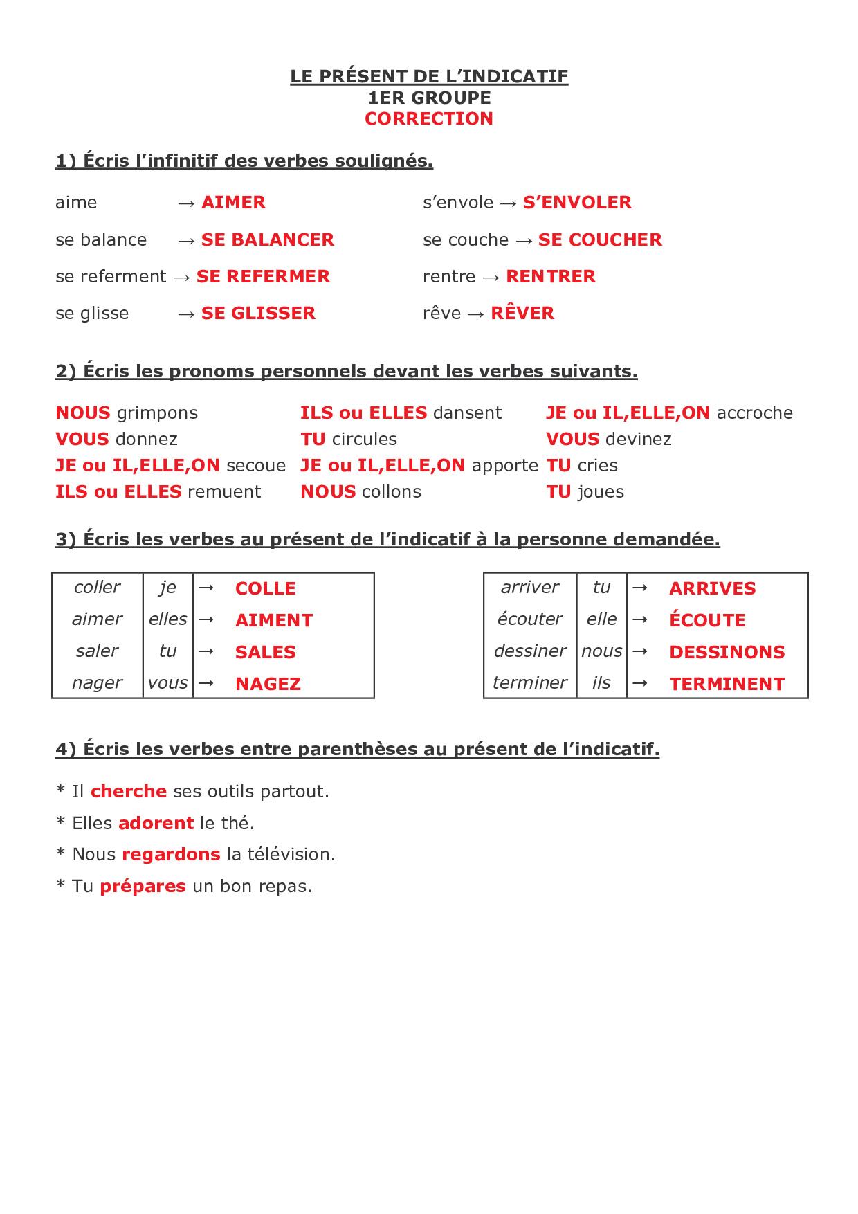 Le présent de l'indicatif - le 1er groupe - exercices 1 ...