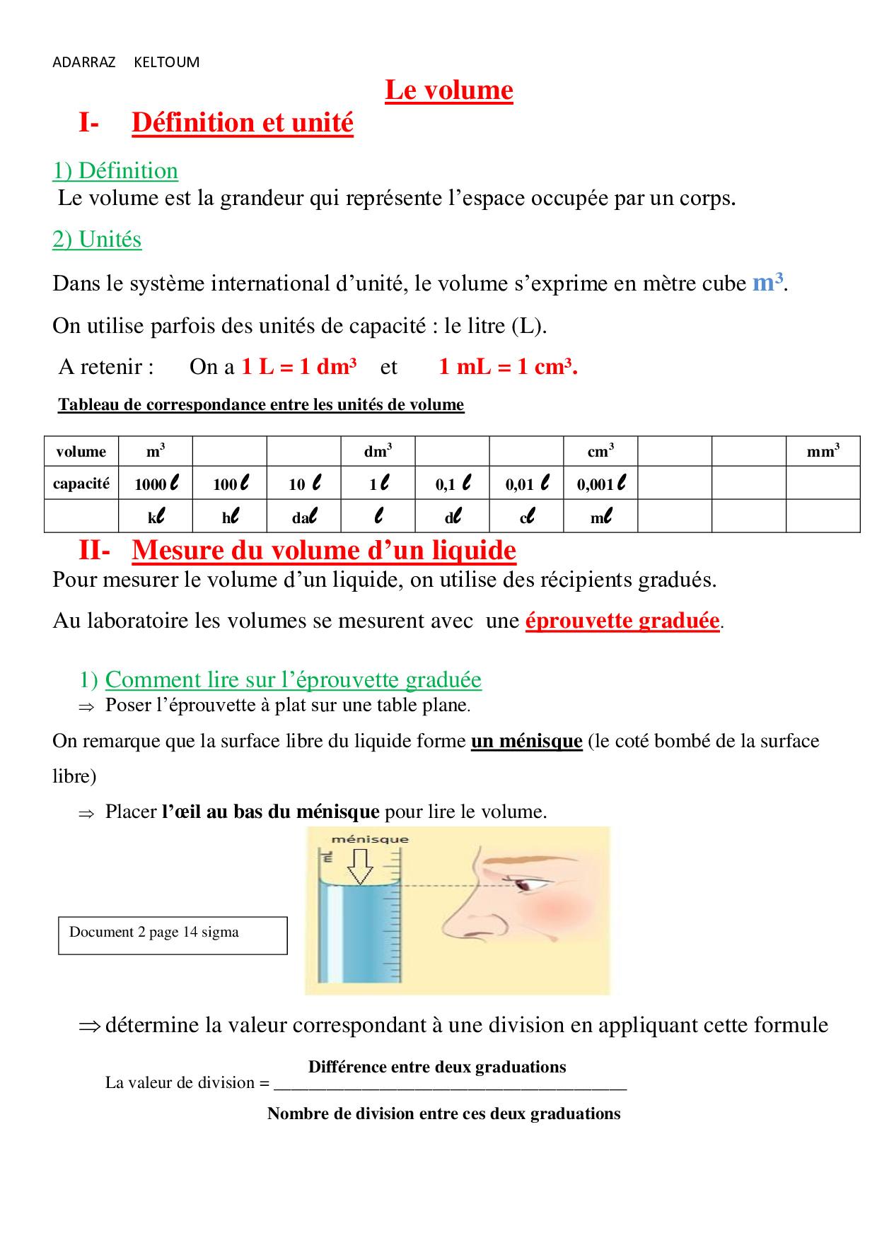 Mesure Du Volume Des Liquides Et Des Solides Cours 4 Alloschool