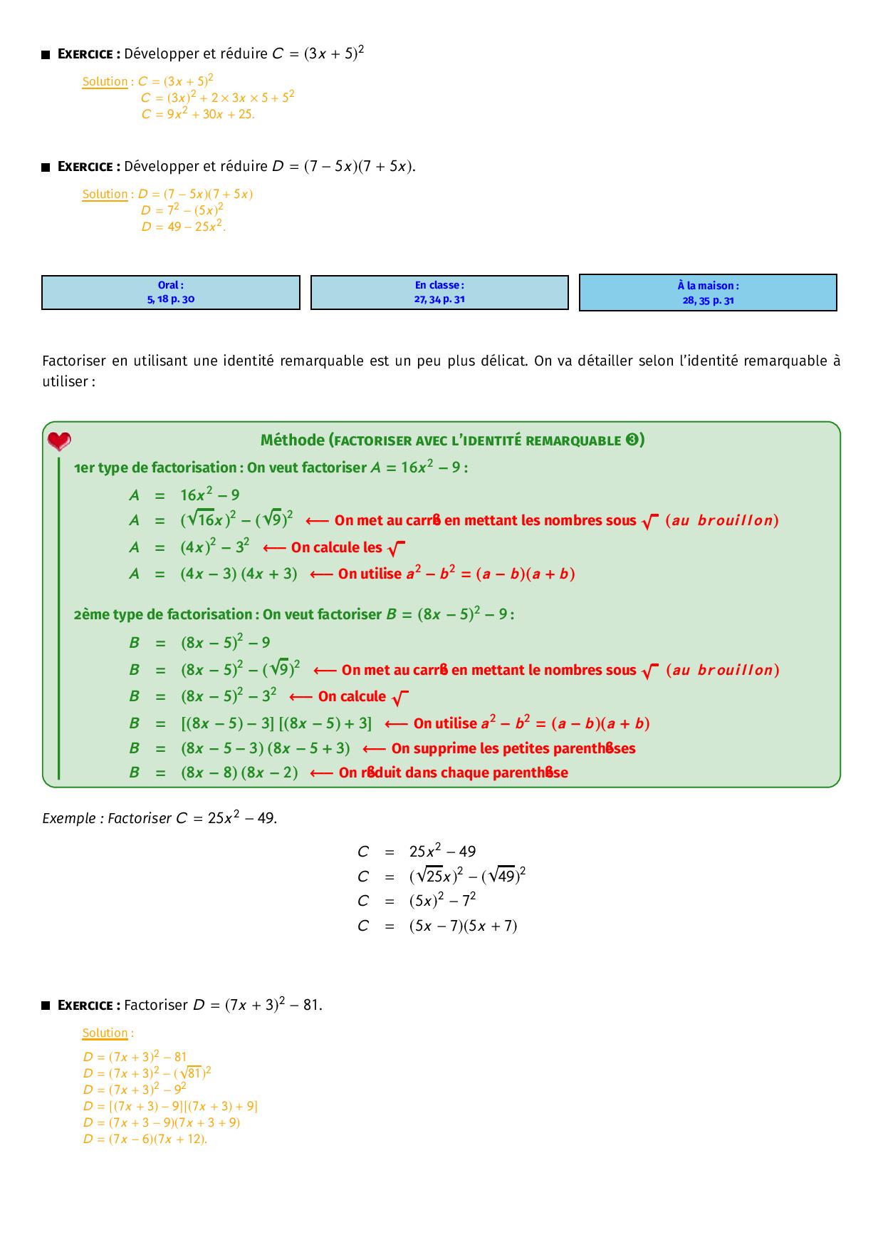 Calcul Litteral Developpement Factorisation Identites Remarquables Cours Alloschool