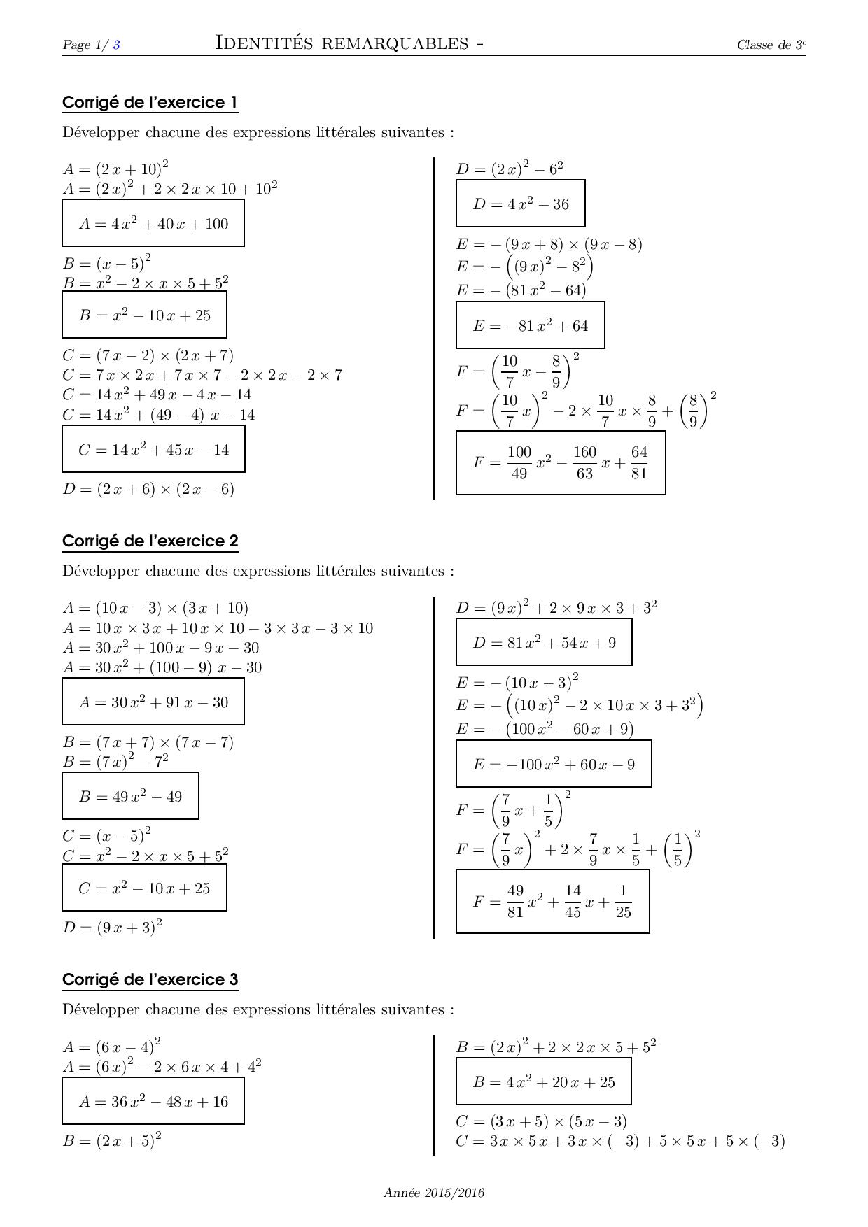 Identites Remarquables Corrige Serie D Exercices 4 Alloschool