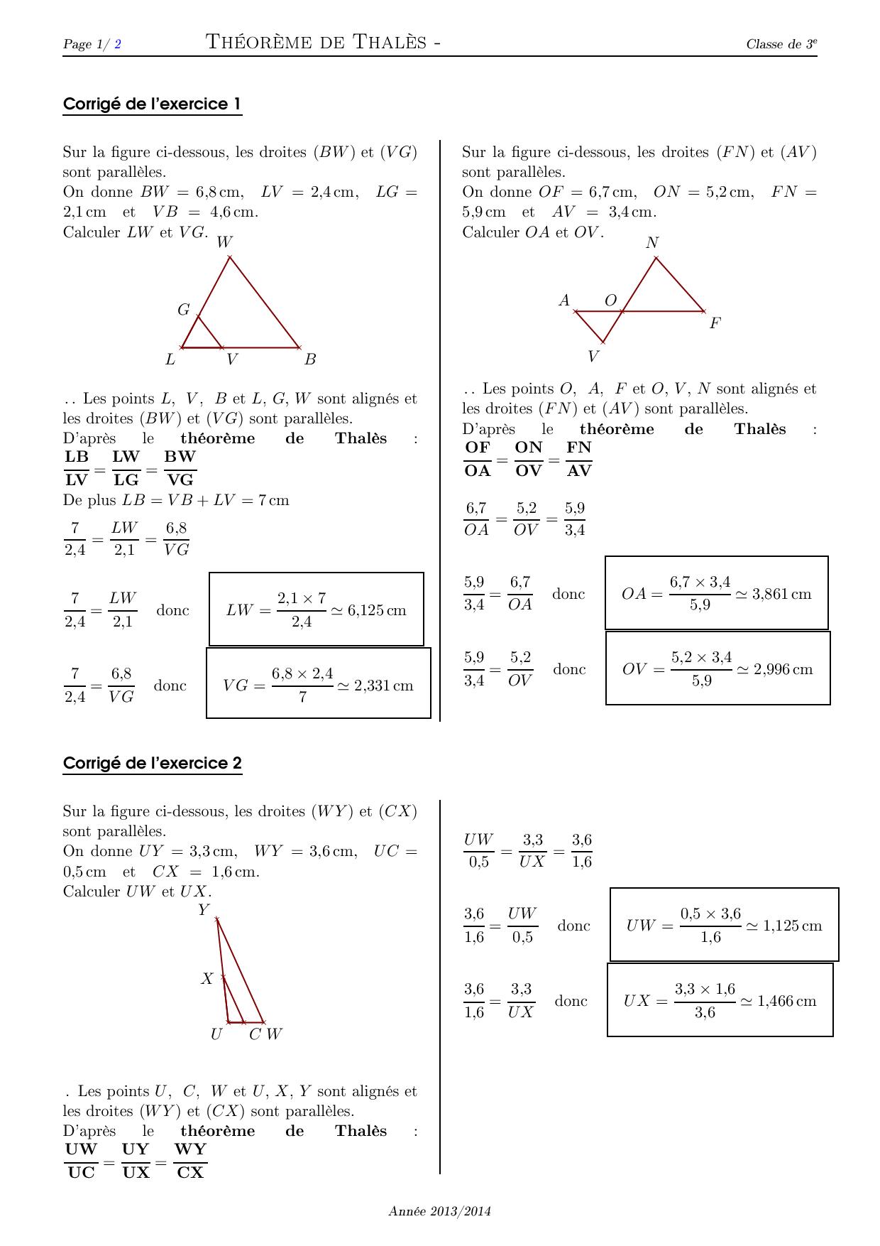 Theoreme De Thales Corrige Serie D Exercices 2 Alloschool