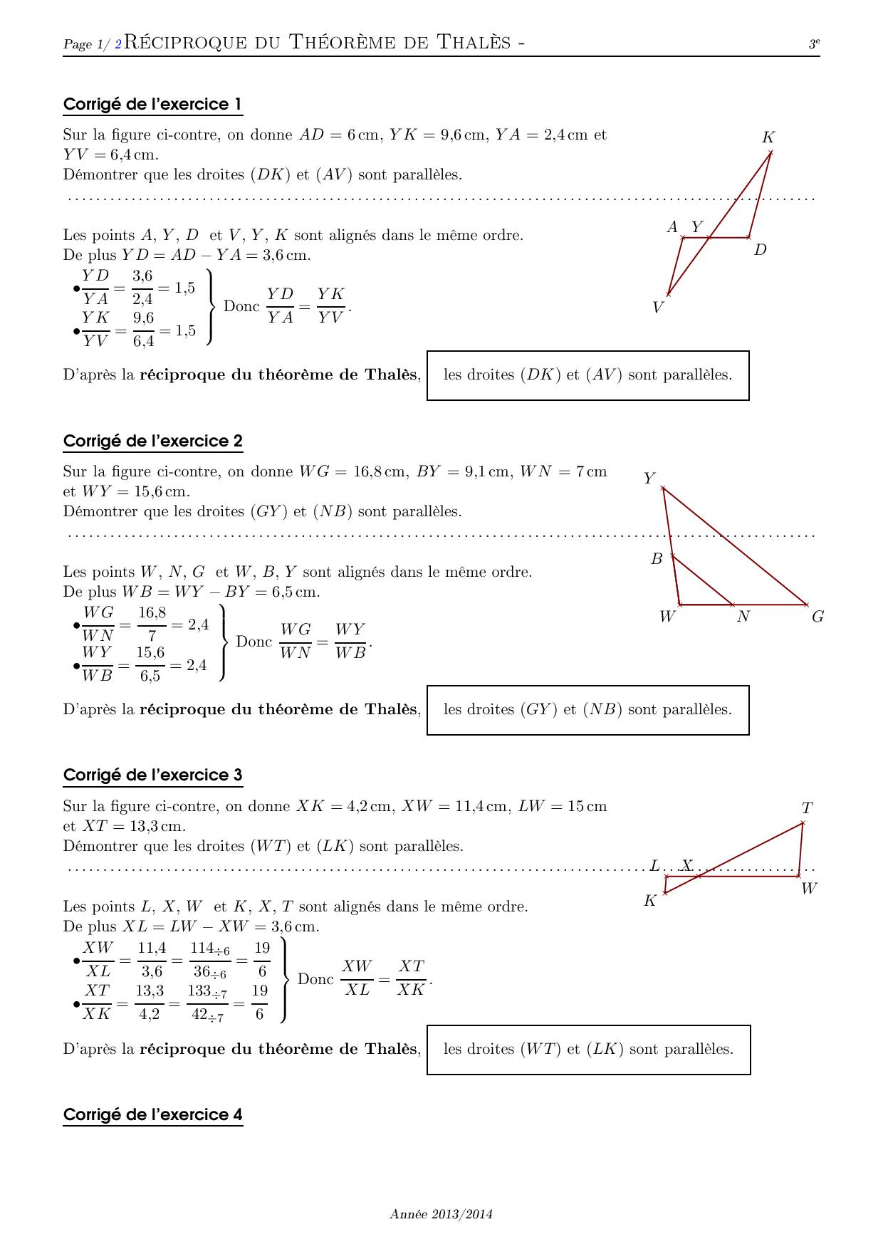 Reciproque Du Theoreme De Thales Corrige Serie D Exercices 1 Alloschool