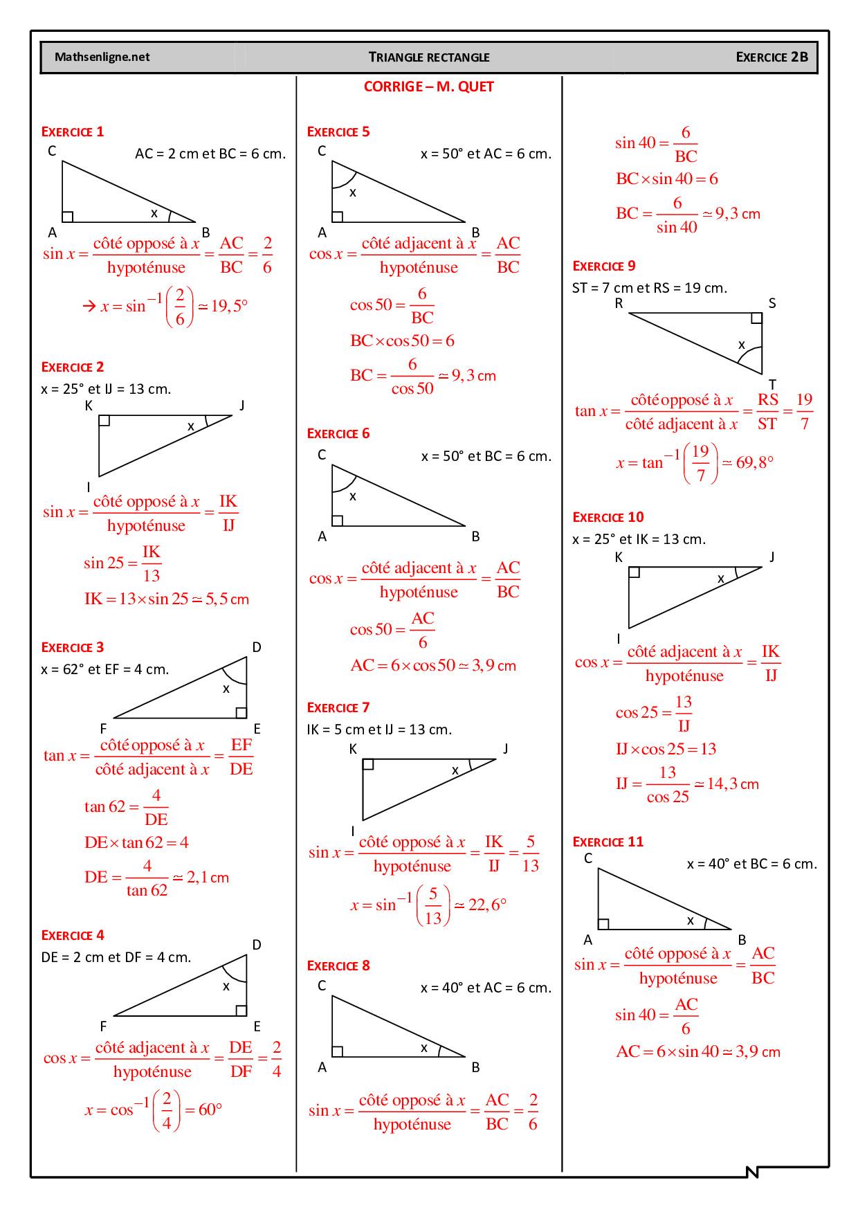 Appliquer Les Formules Trigonometriques Corriges D Exercices 2 Alloschool