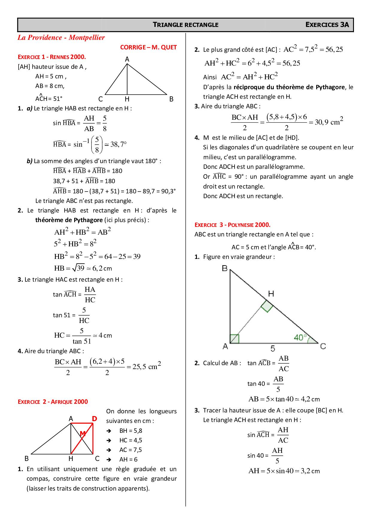 Trigonometrie Problemes De Brevet Corriges D Exercices Alloschool