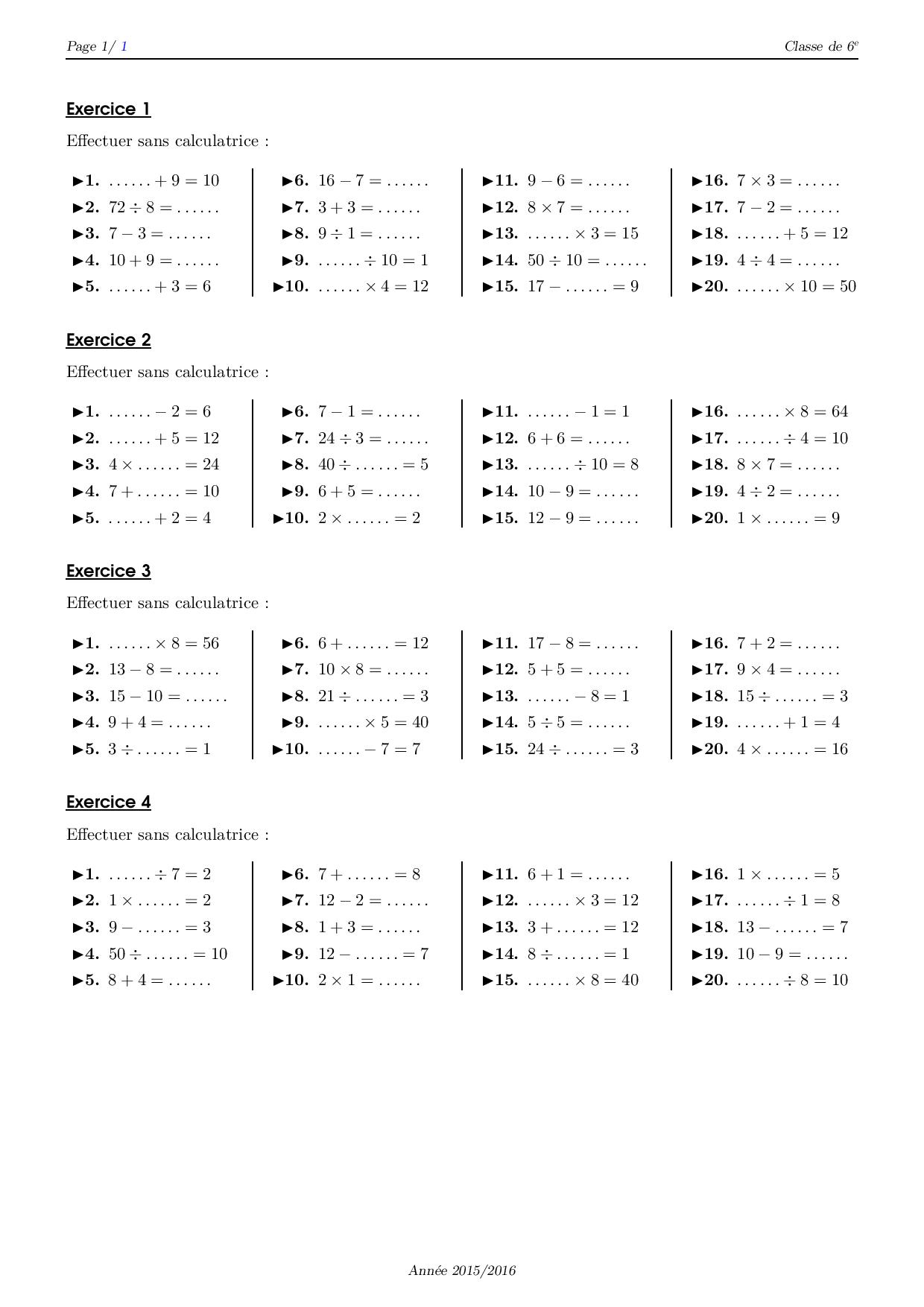 Calcul mental - Série d'exercices 4 - AlloSchool