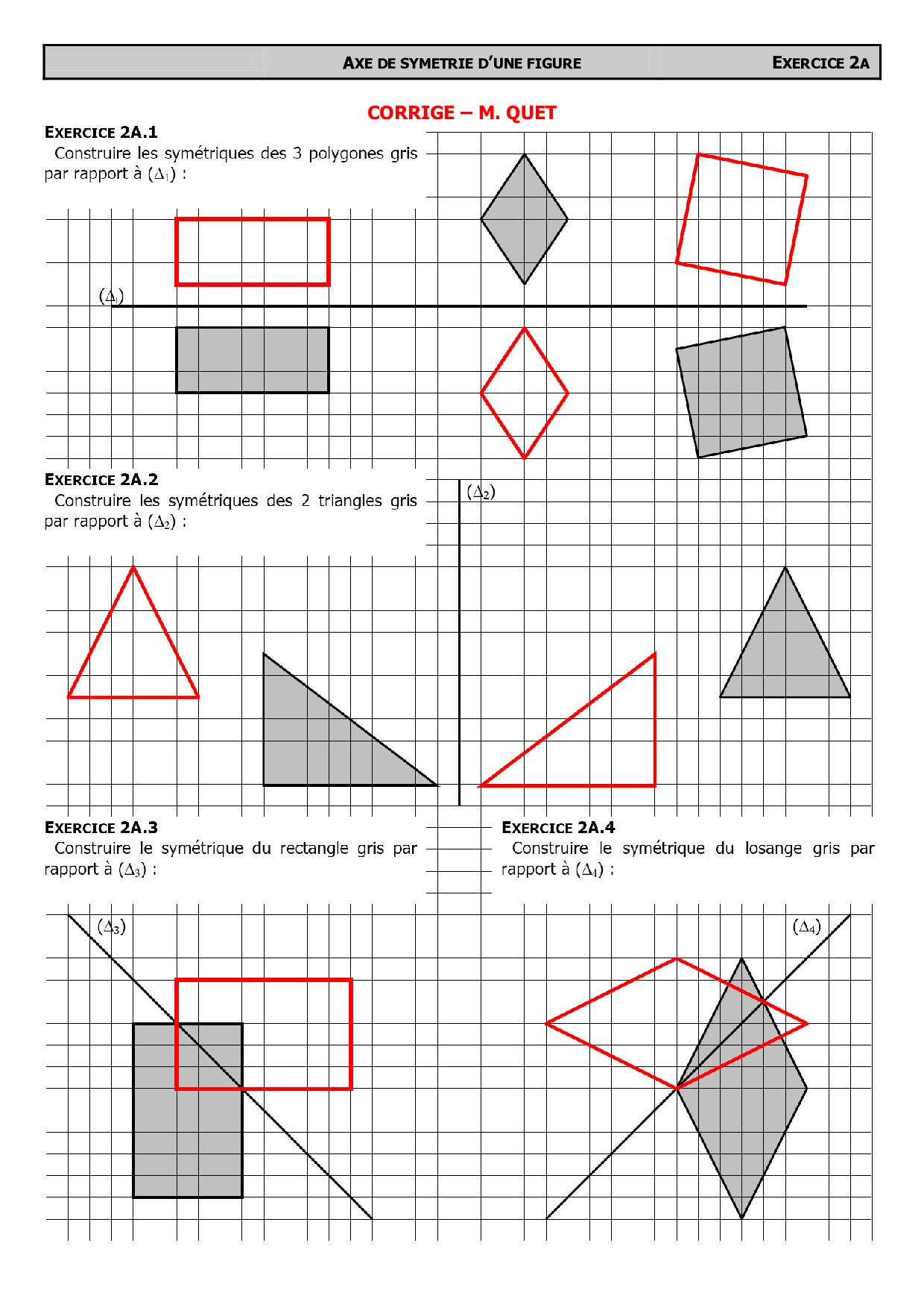 Constructions de symétriques avec quadrillage - Corrigé d ...