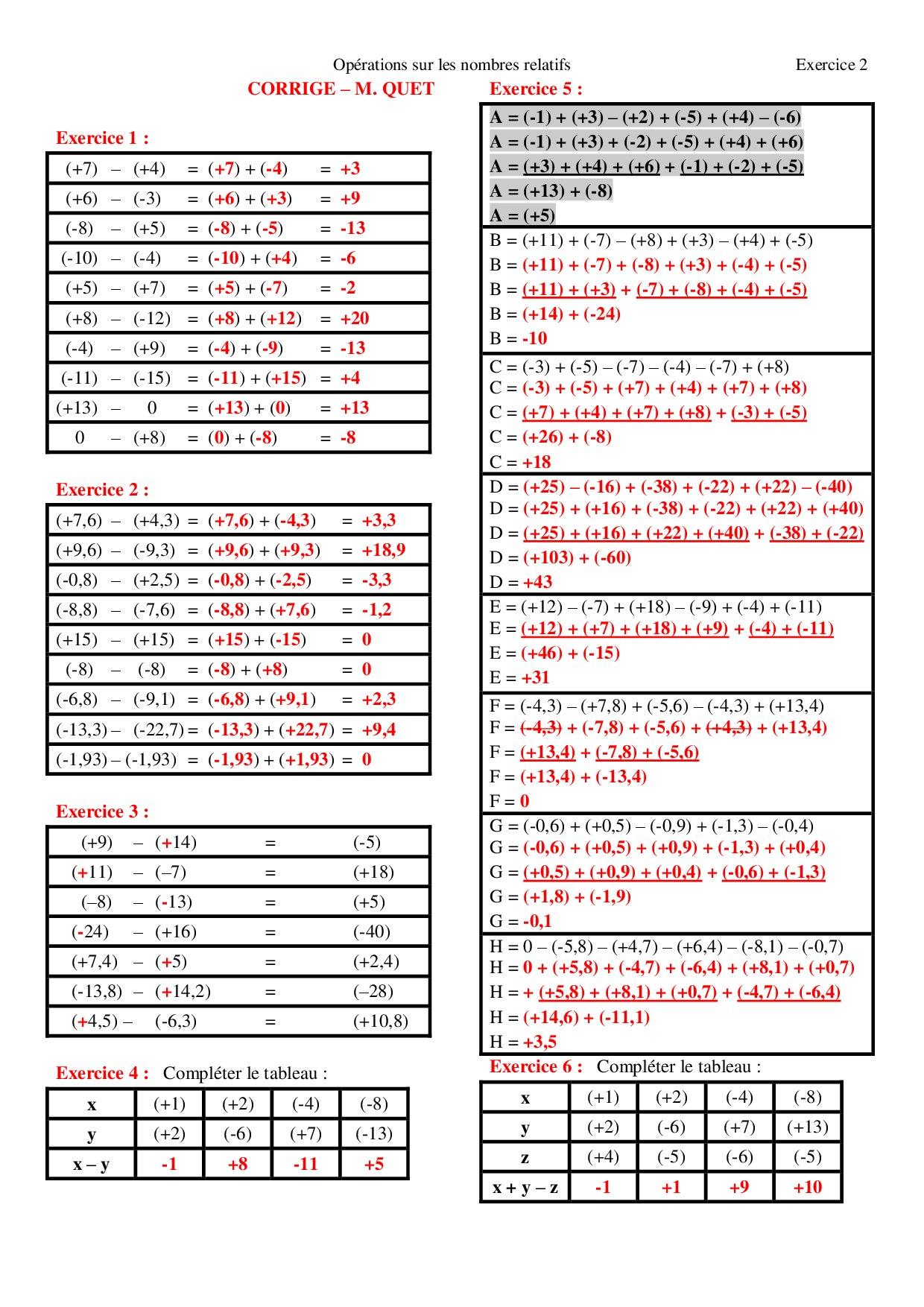 Soustraction de nombres relatifs - Corrigés d'exercices ...