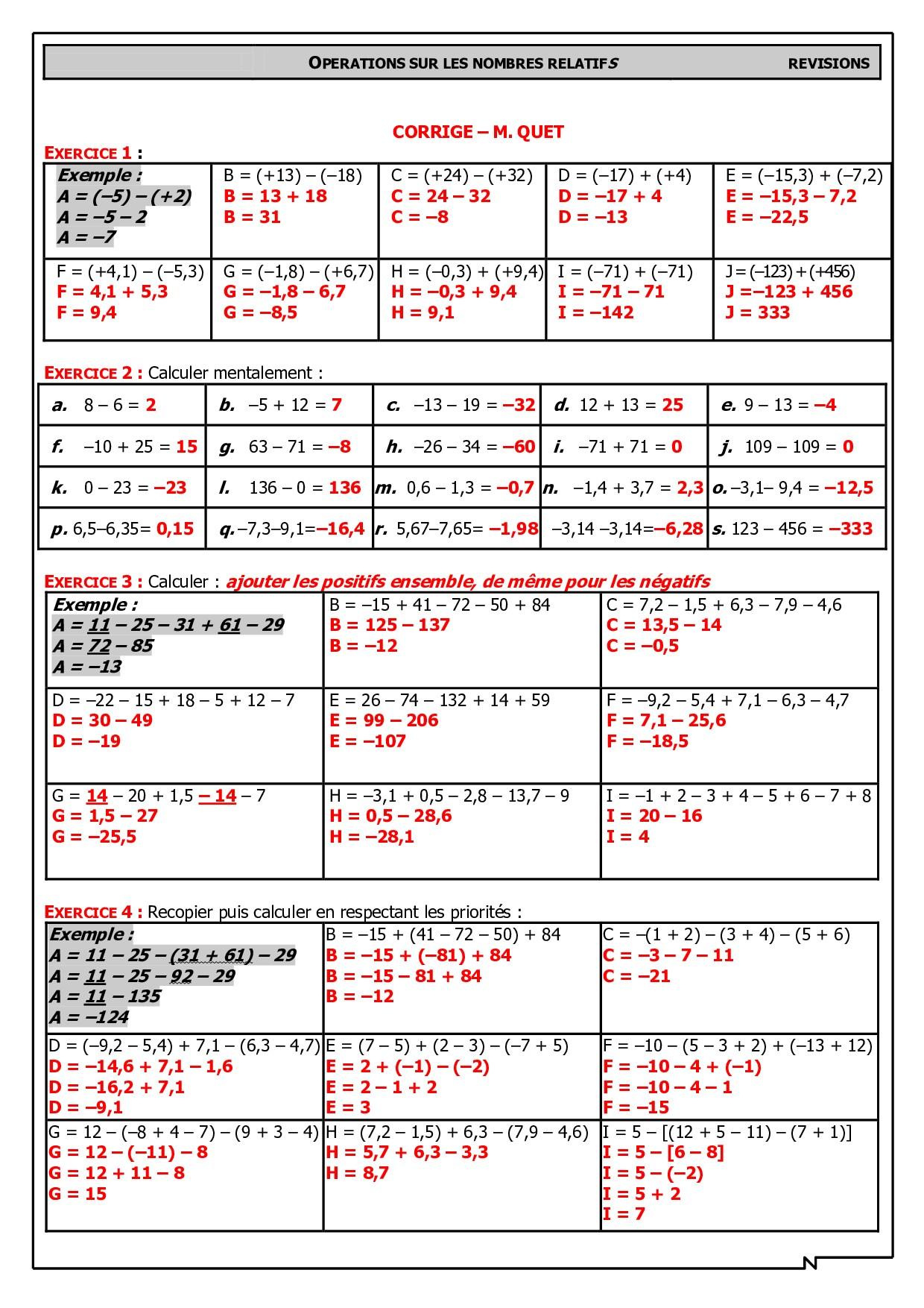 Nombres Relatifs Cours De Mathematiques En Mandala Carte Mentale Addition Et