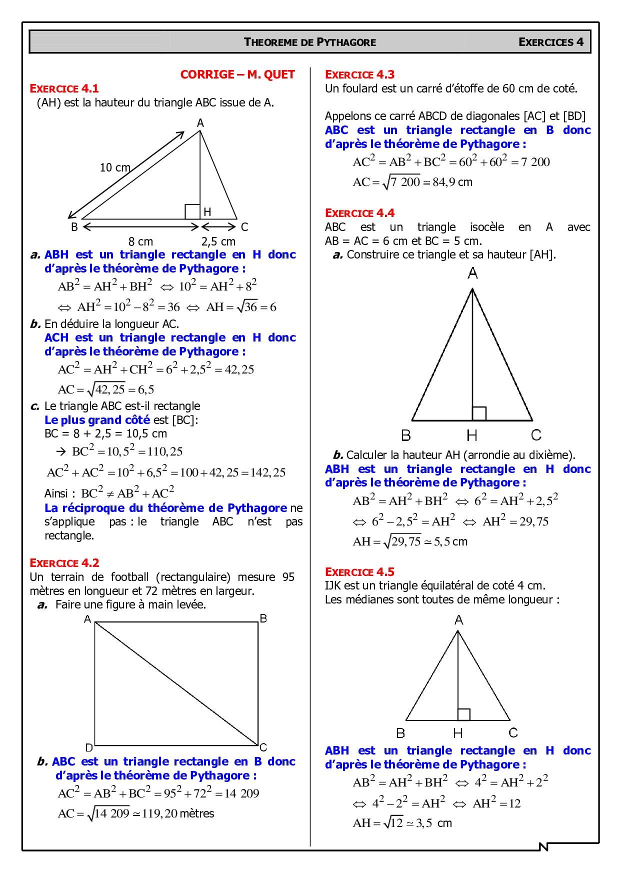 Pythagore - Corrigés de problèmes - AlloSchool