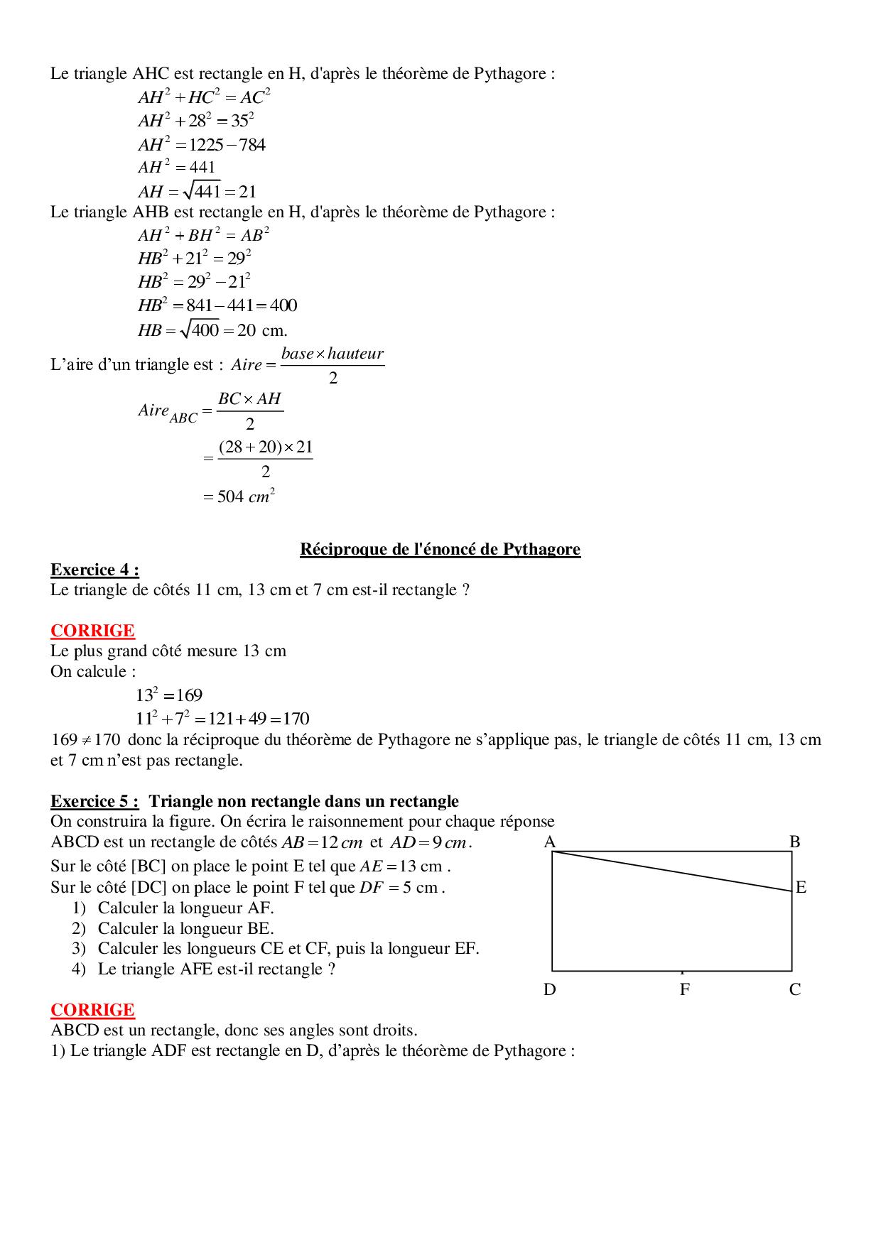 Propriete De Pythagore Exercices Corriges Alloschool
