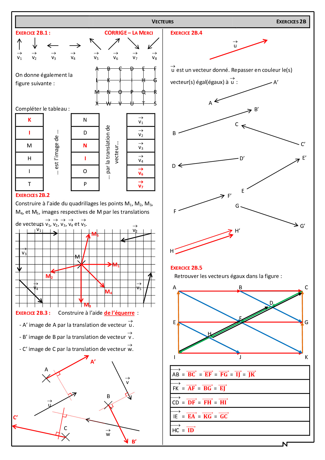 Translation Et Vecteurs Corriges D Exercices Alloschool