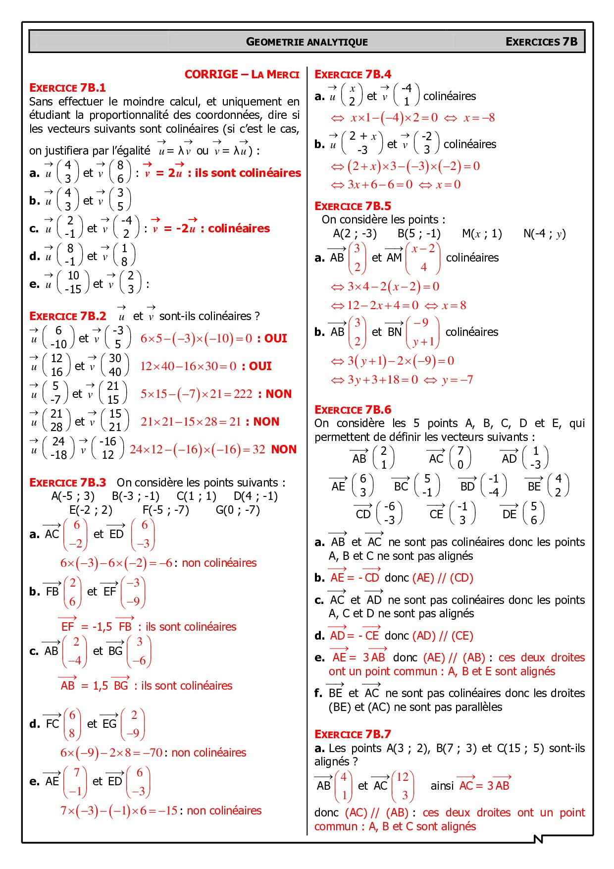 Vecteurs Colineaires Corriges D Exercices Alloschool