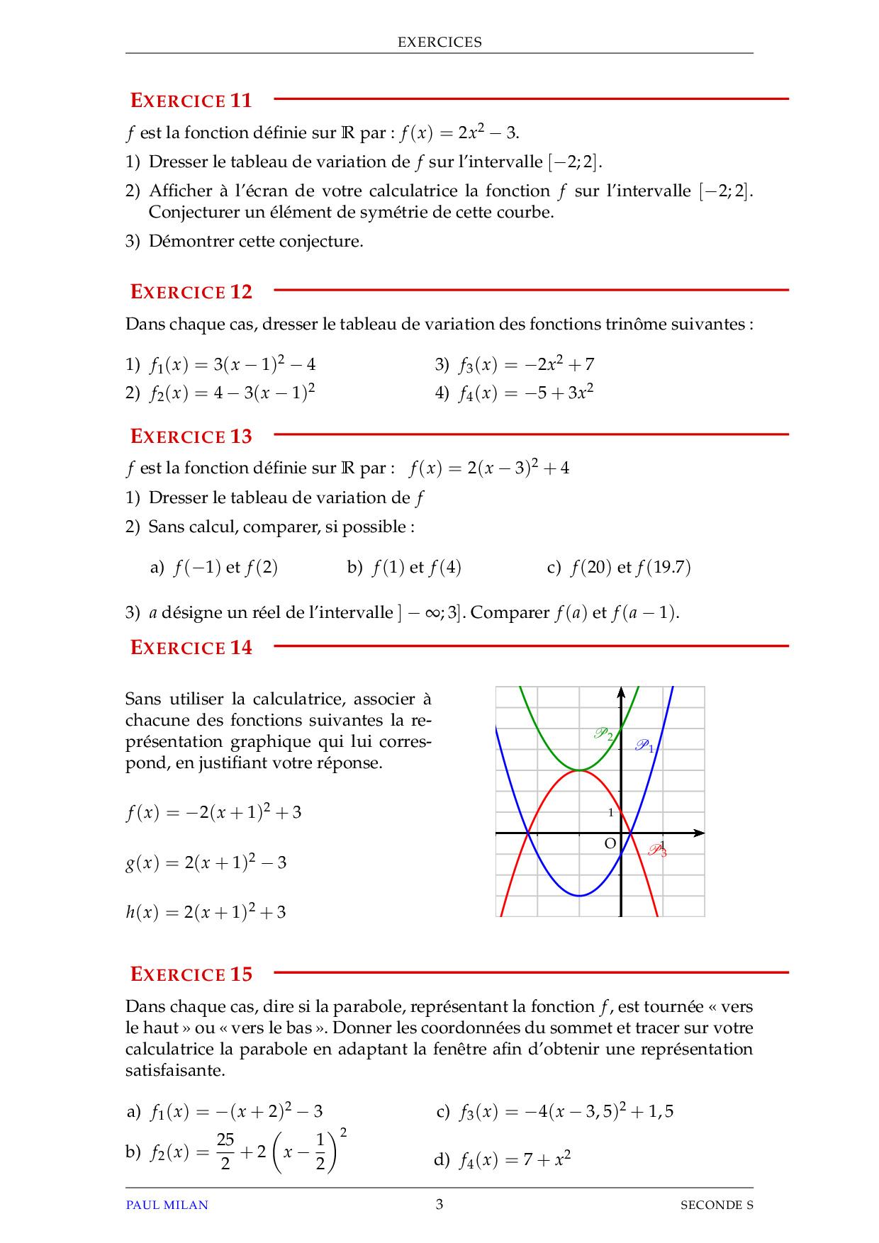 Fonctions de référence - Exercices non corrigés - AlloSchool