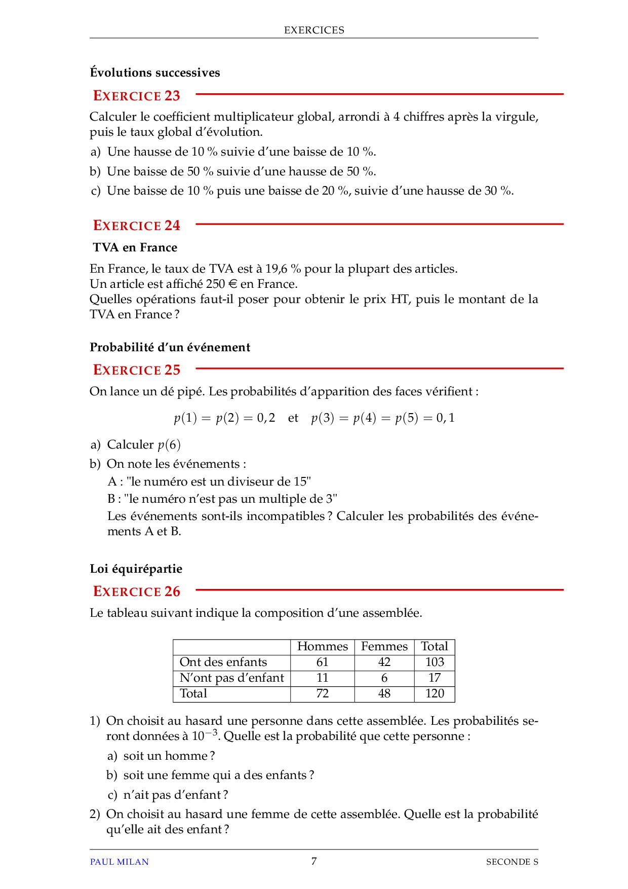 Statistiques - Probabilités - Exercices non corrigés ...