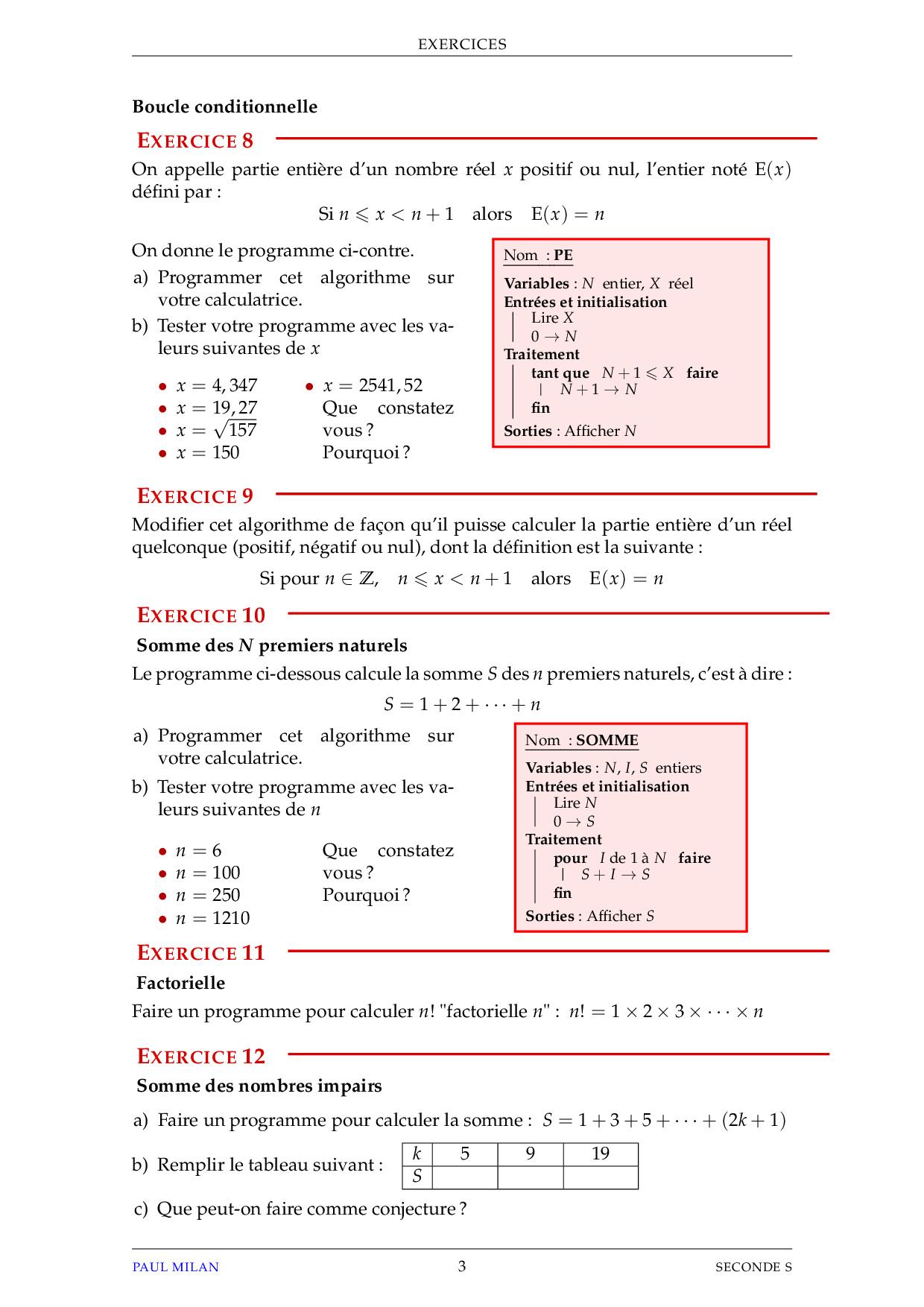 Notions D Algorithme Exercices Non Corriges Alloschool