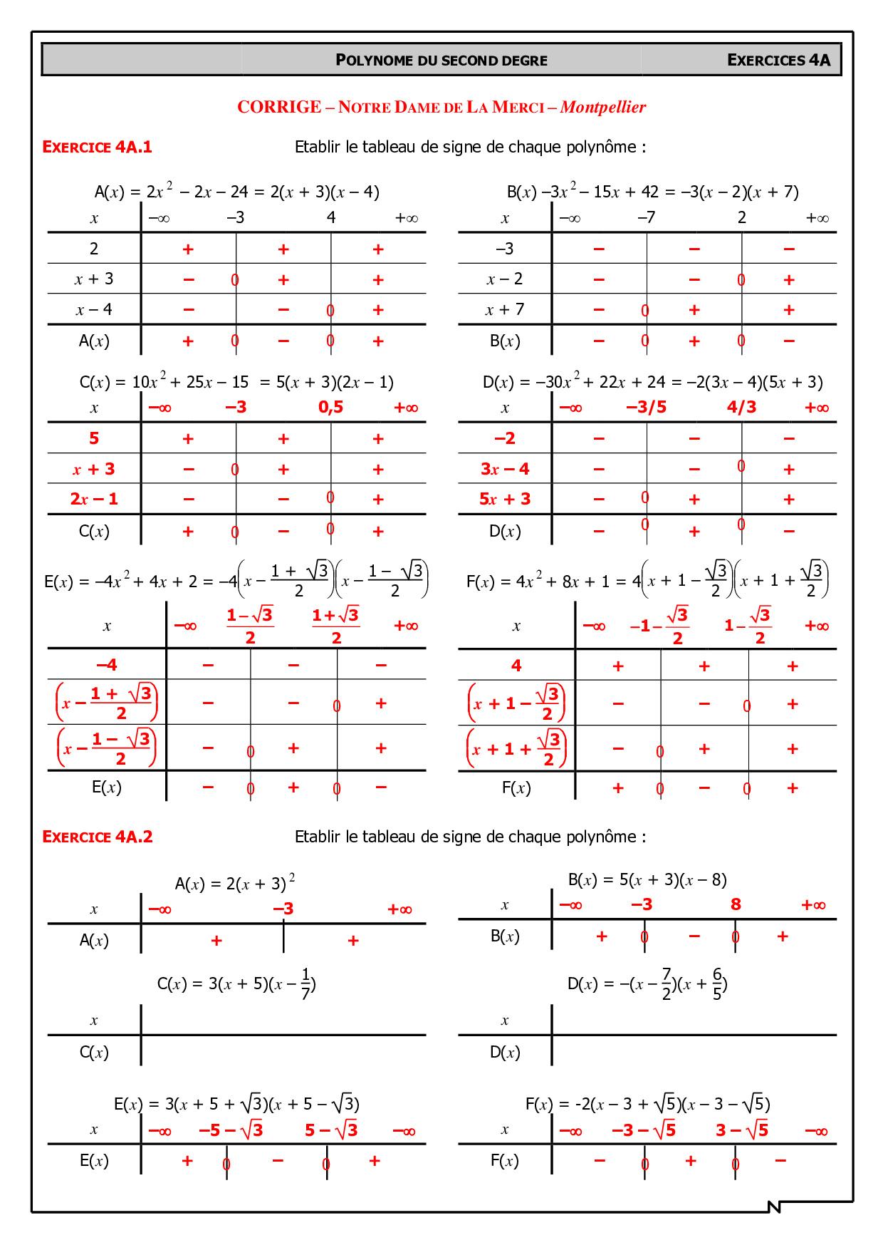 Signe d'un polynôme du second degré - Corrigés d'exercices ...