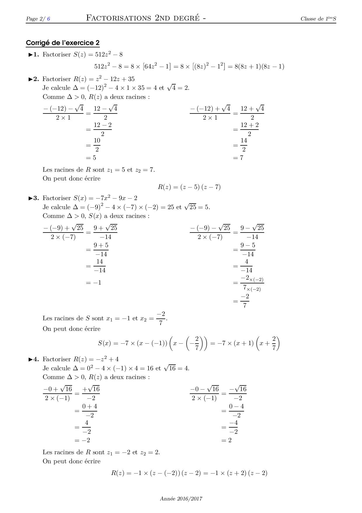 Factorisation d'un polynôme du second degré - Corrigé ...