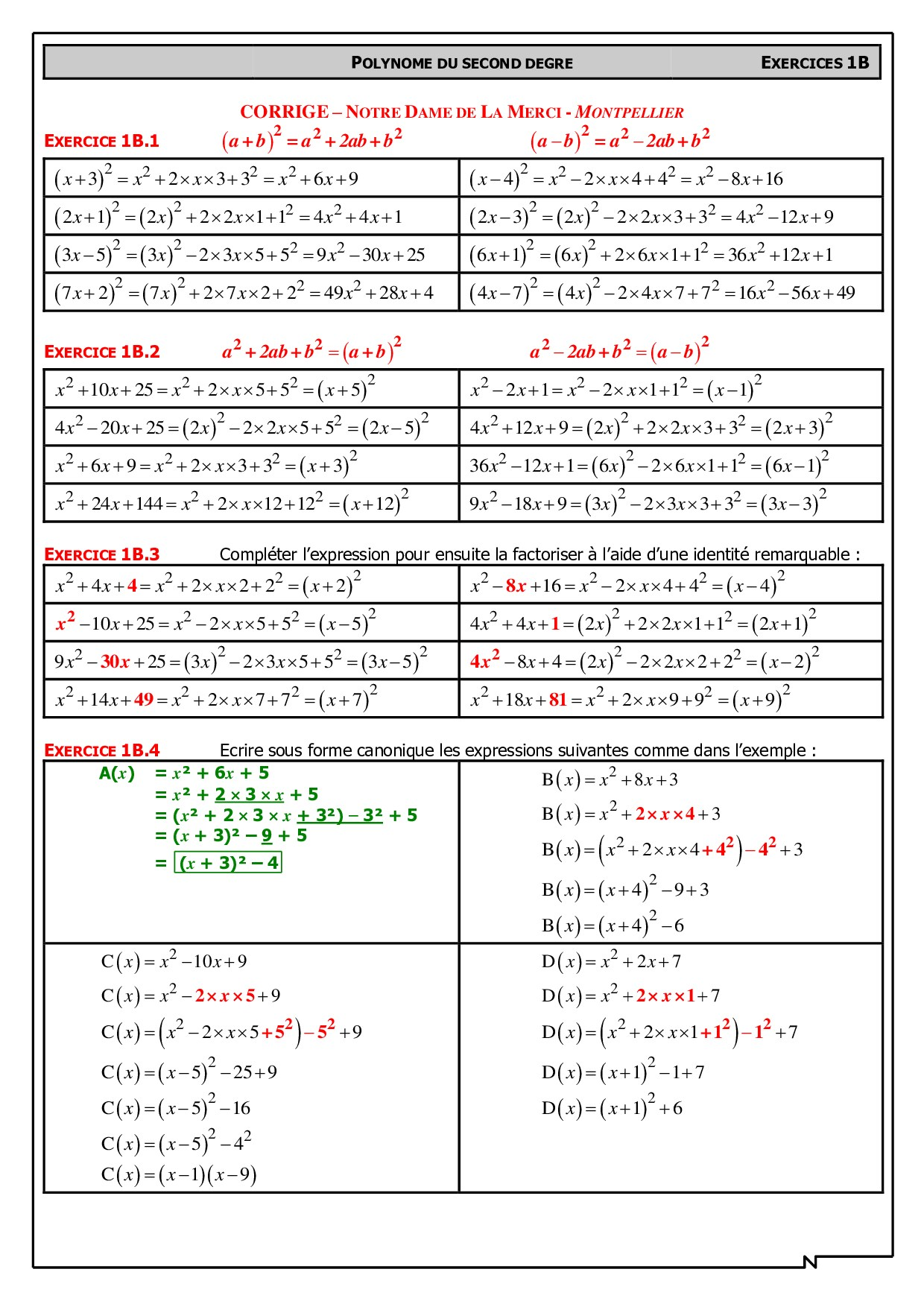 Identites Remarquables Et Forme Canonique Corriges D Exercices Alloschool