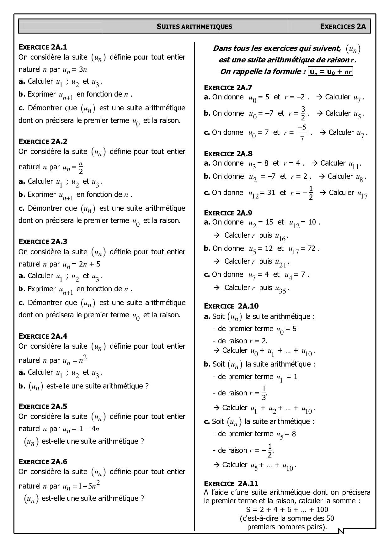 Suites Arithmetiques Exercices Alloschool