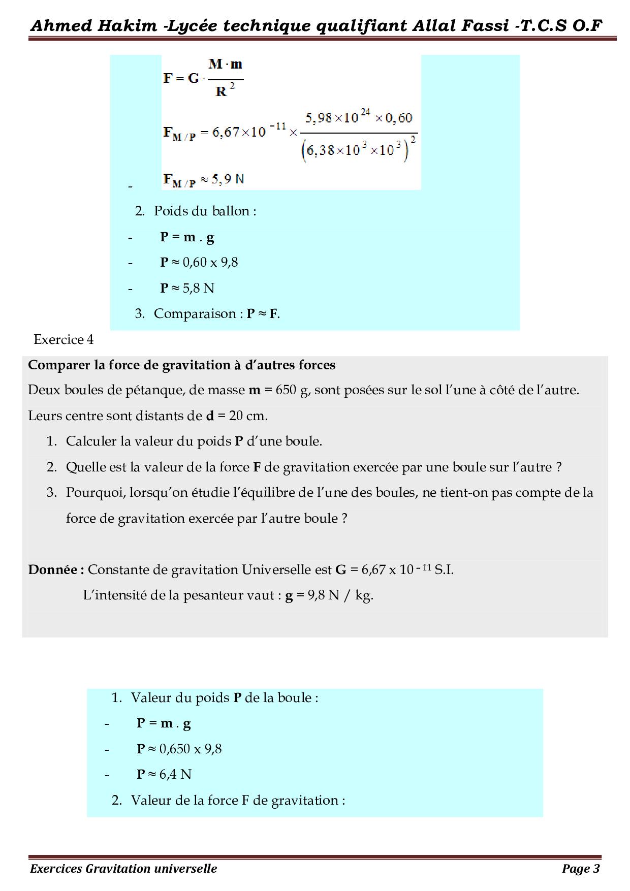 La gravitation universelle - Corrigé série d'exercices 1 ...