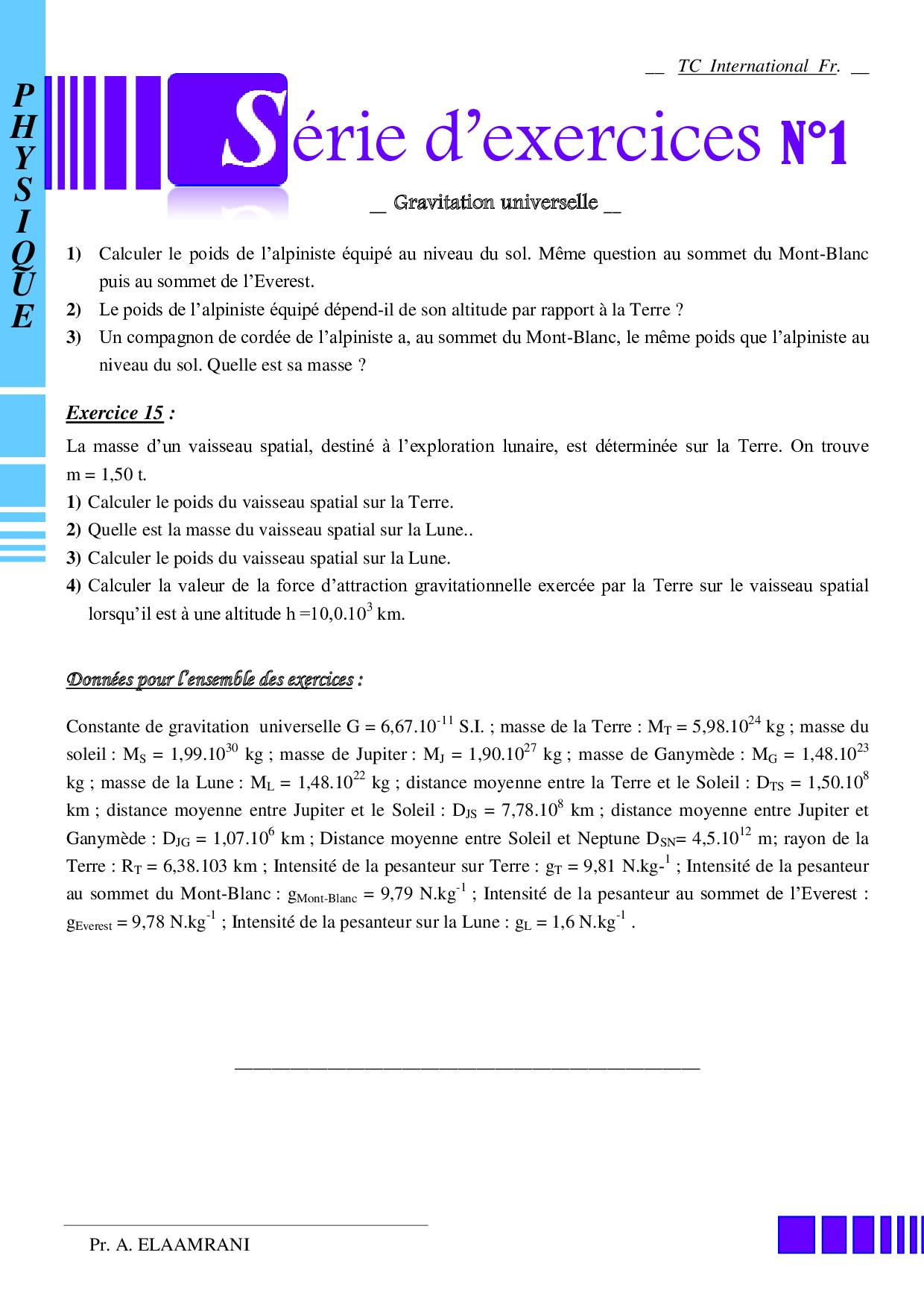 La gravitation universelle - Exercices non corrigés 2 ...