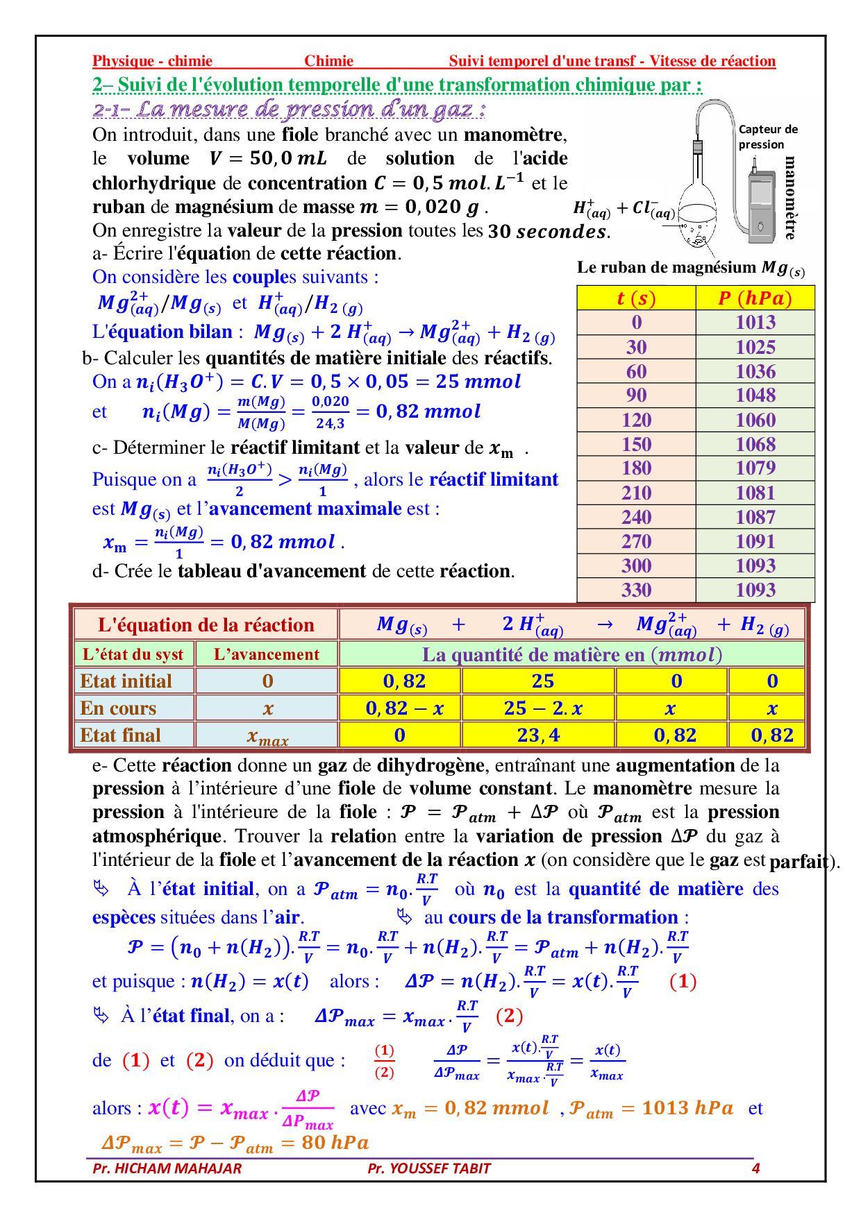 suivi temporel d u0026 39 une transformation chimique