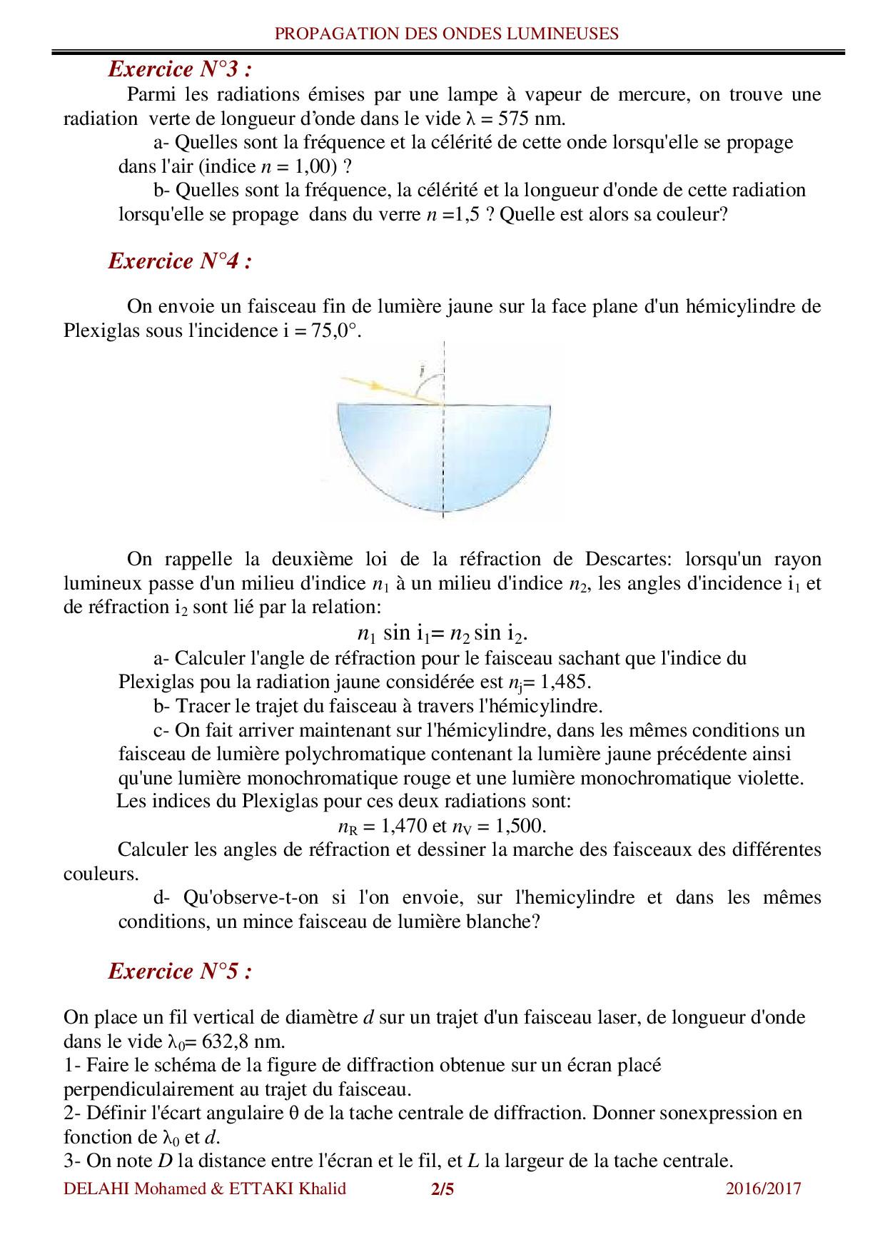 Propagation des ondes lumineuses - Exercices non corrigés 1 - AlloSchool