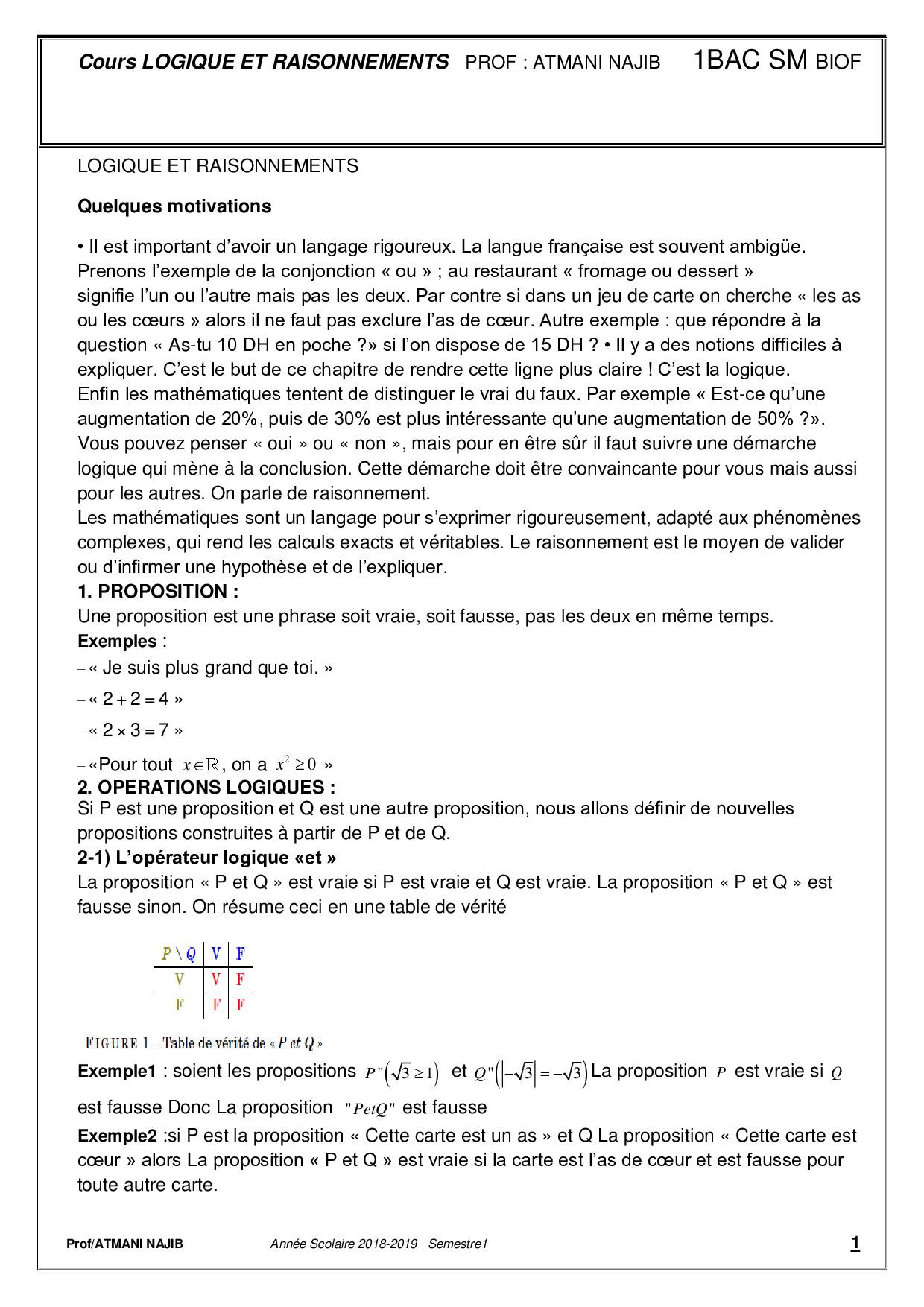 Notions De Logique Cours Et Exercices Corriges Alloschool