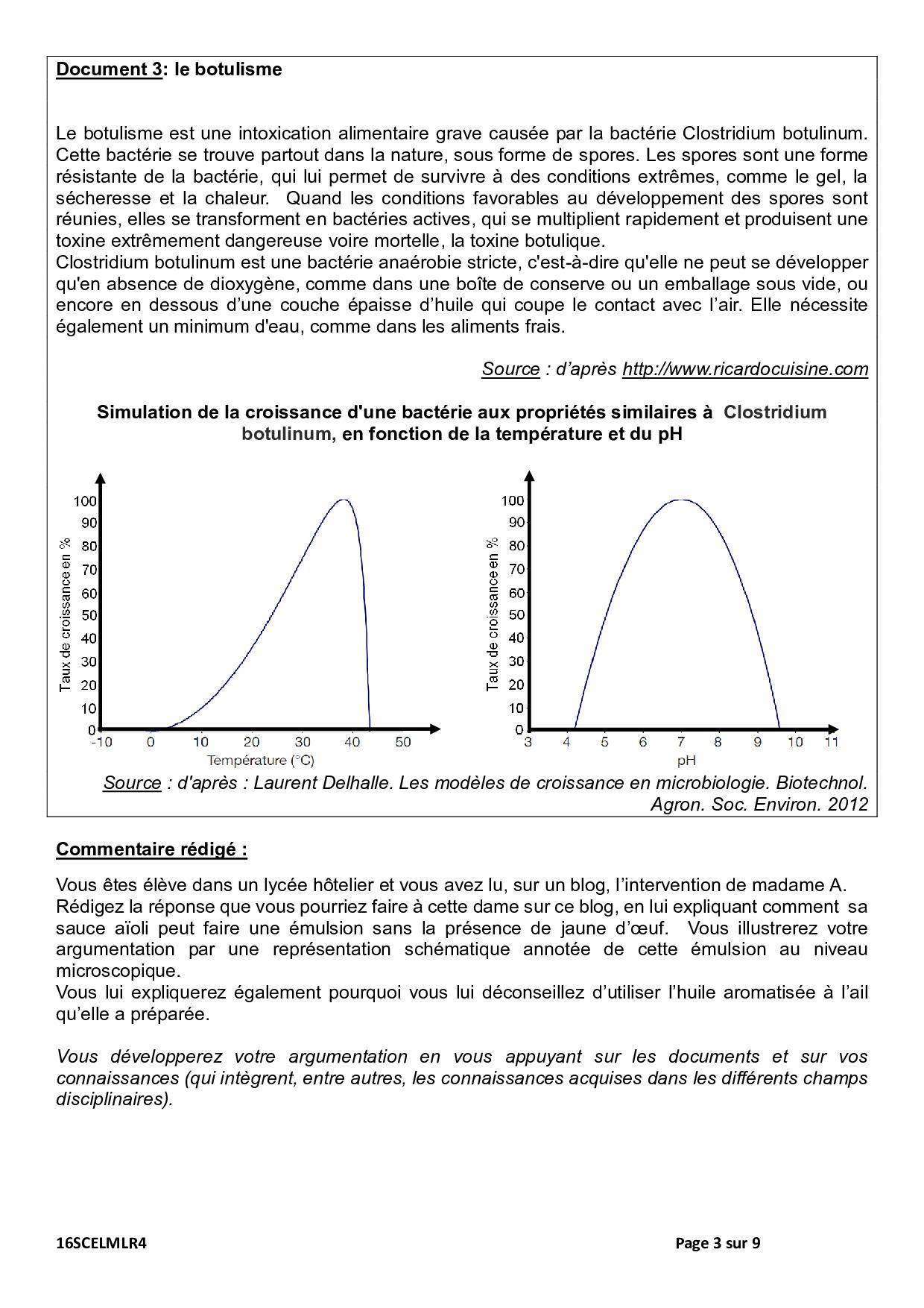 Bac ES L Sciences (1ère) Métropole 2016 (Session de
