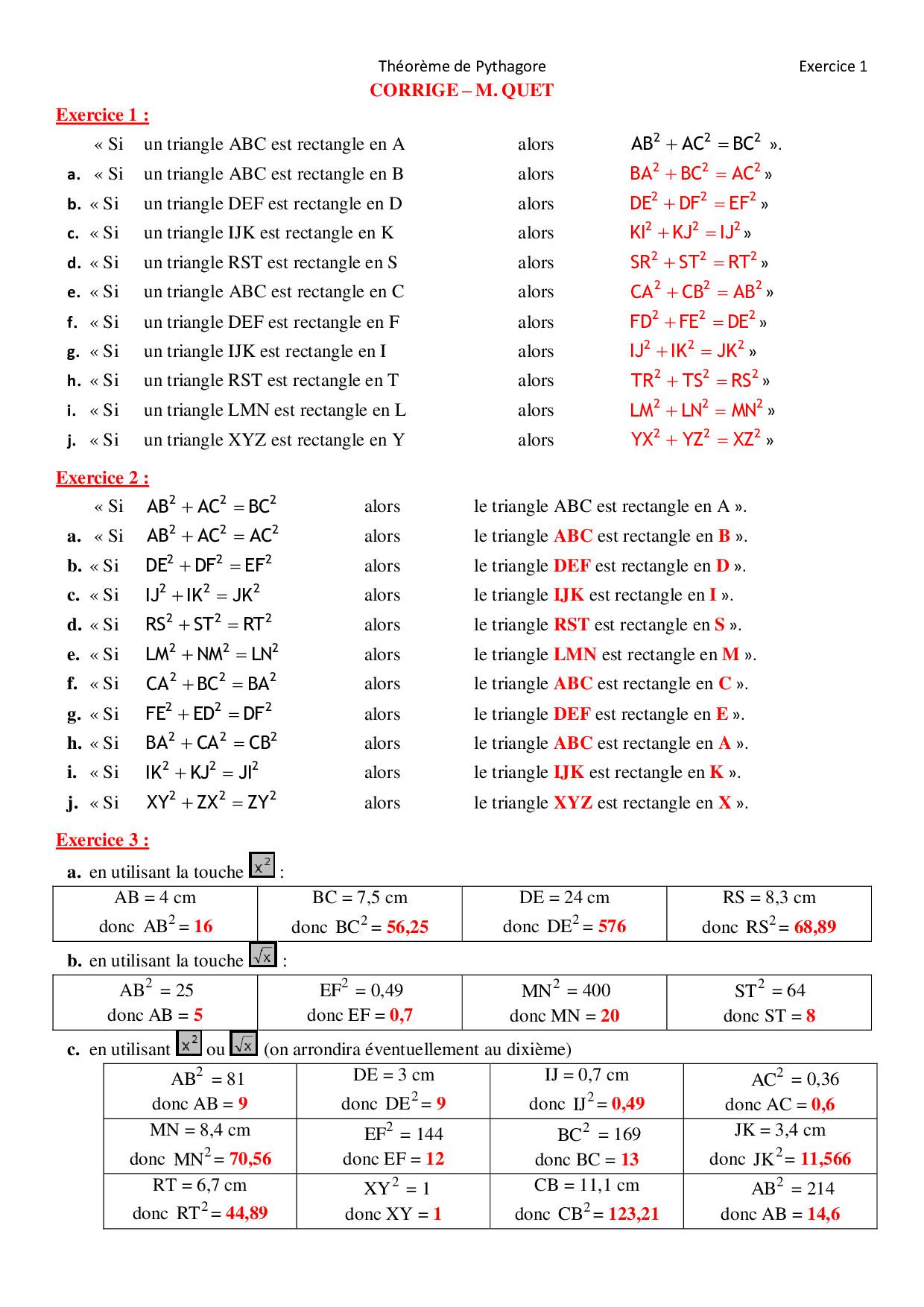 Propriété de Pythagore - Utilisation de la calculatrice ...
