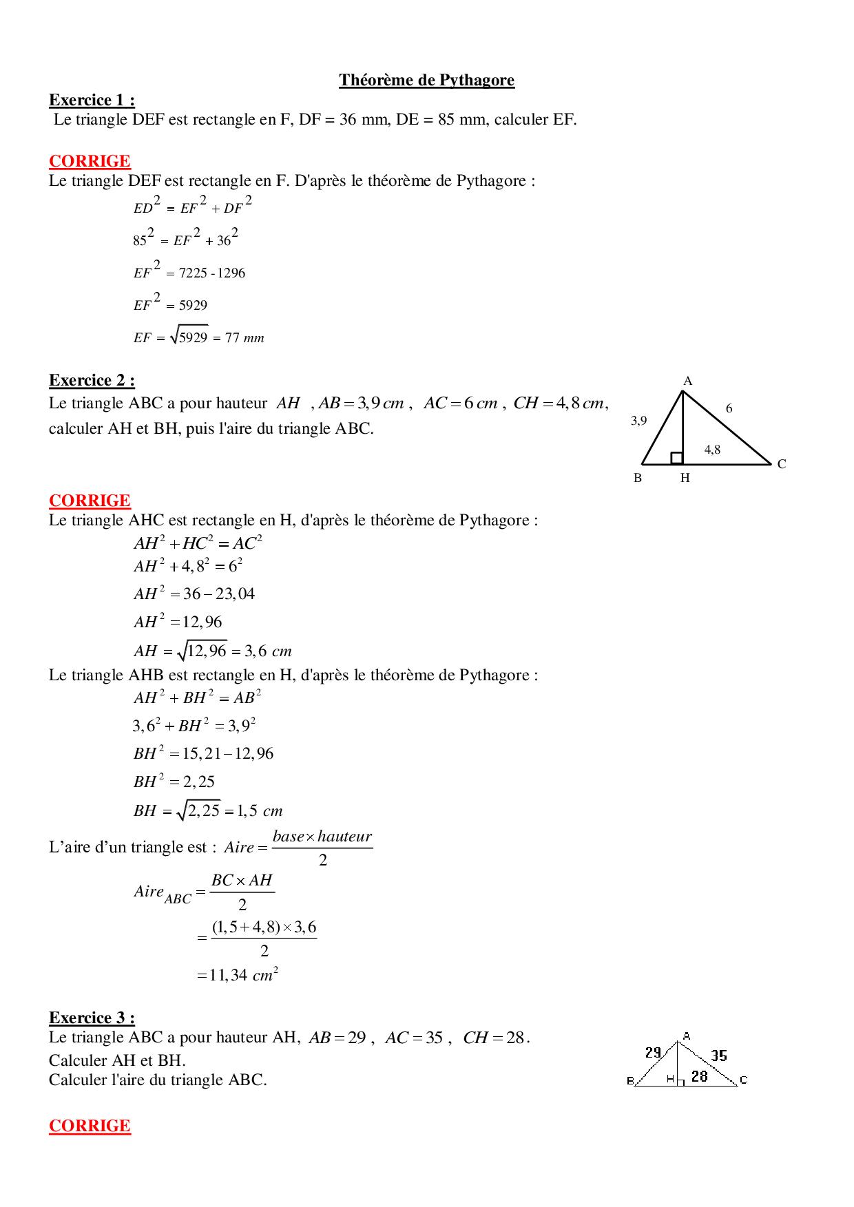 Propriété de Pythagore - Exercices corrigés - AlloSchool