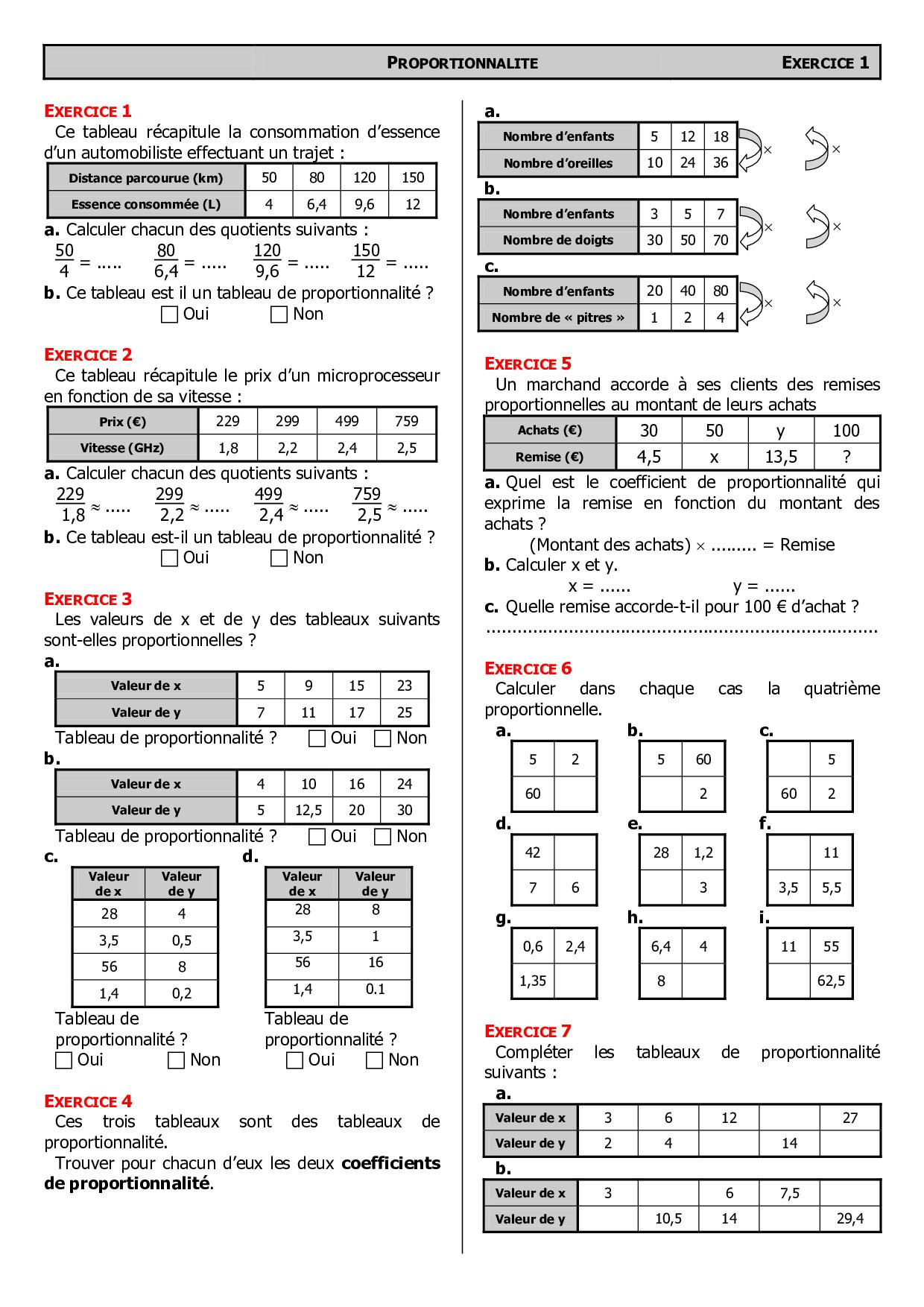 Tableaux De Proportionnalite Exercices Alloschool