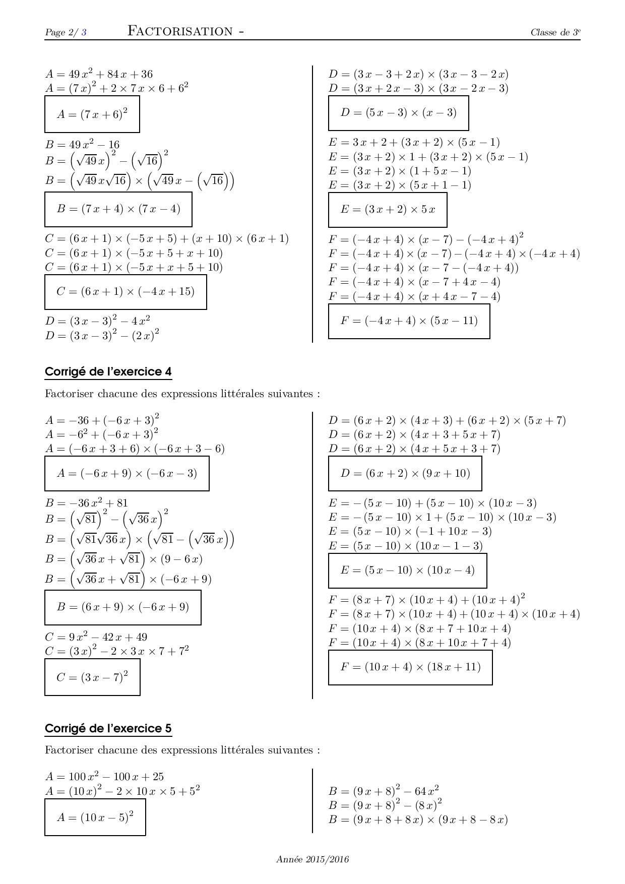 Factorisation - Corrigé série d'exercices 4 - AlloSchool