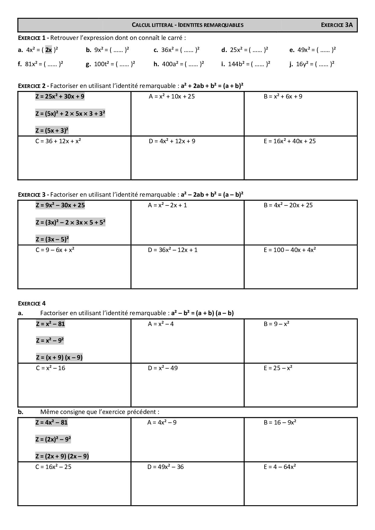 Factorisation (Identités Remarquables) - Exercices 1 ...